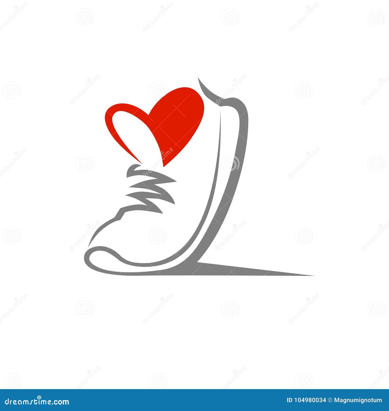 Символ ботинка, значок Любящая концепция спорта