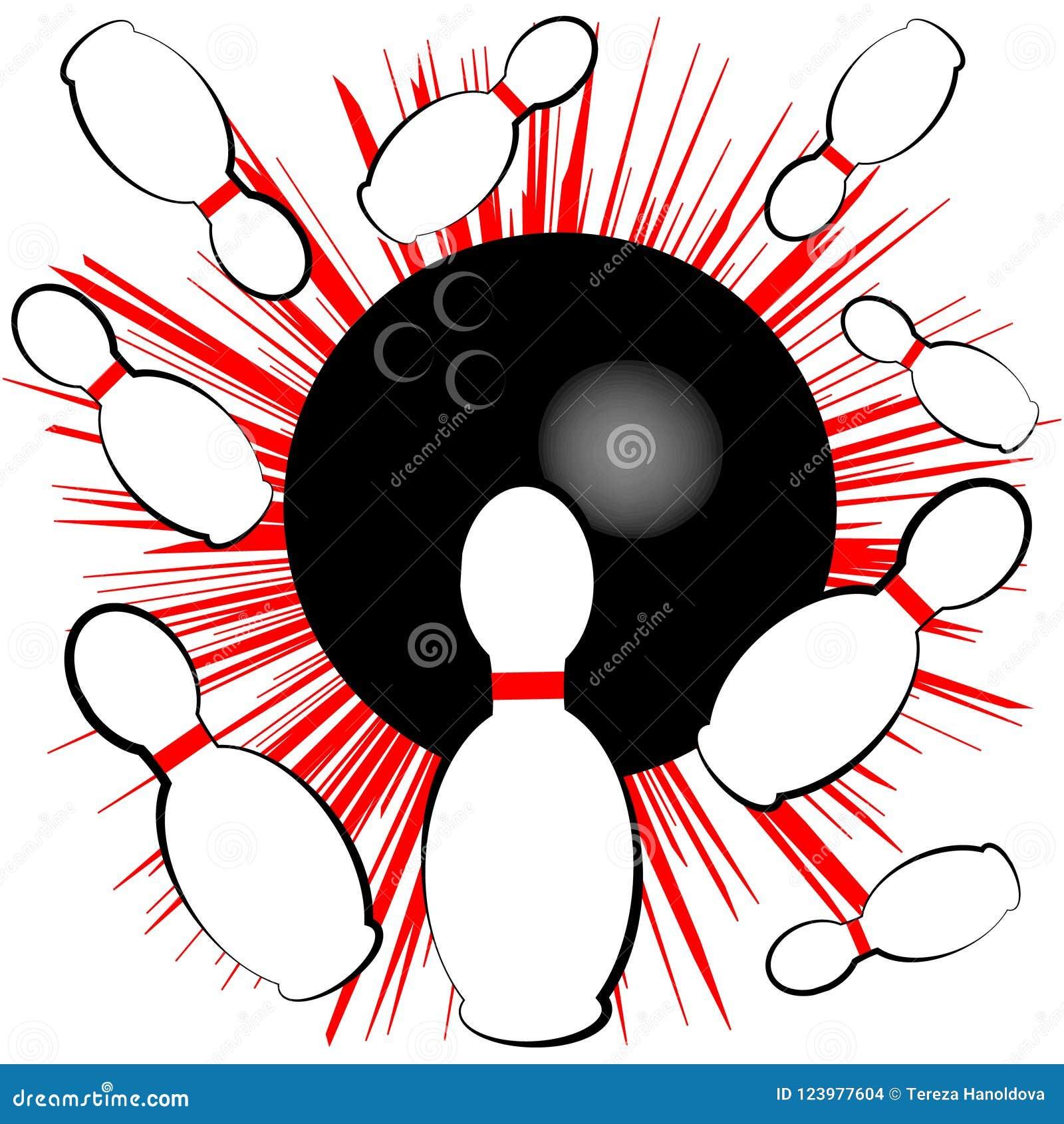 Символ боулинга изолированный на белой предпосылке также вектор иллюстрации притяжки corel