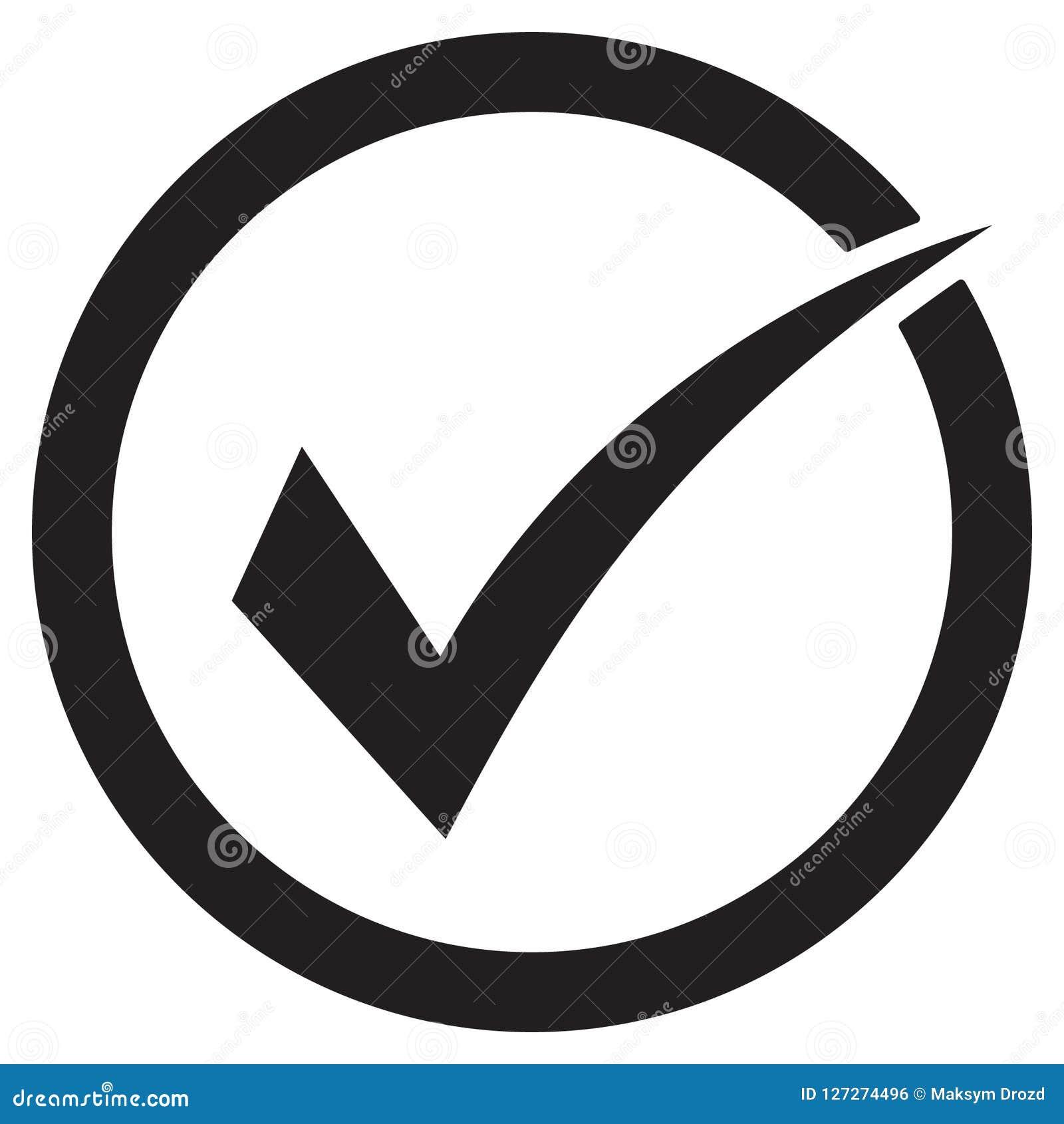 Символ вектора значка тикания, контрольная пометка изолированная на белой предпосылке, проверил значок или правильное отборное pi