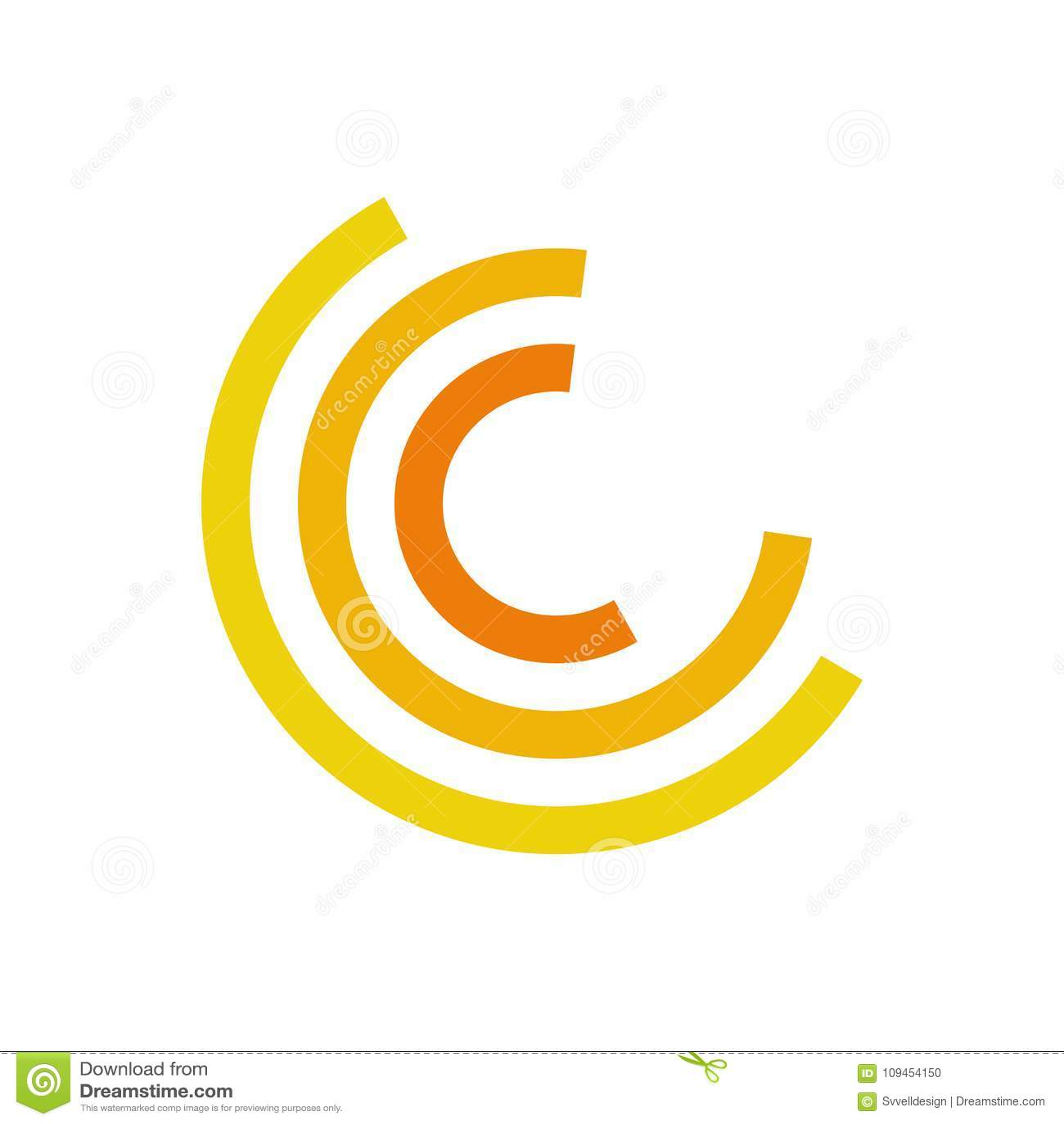 Символ желтого движения полкруга абстрактный