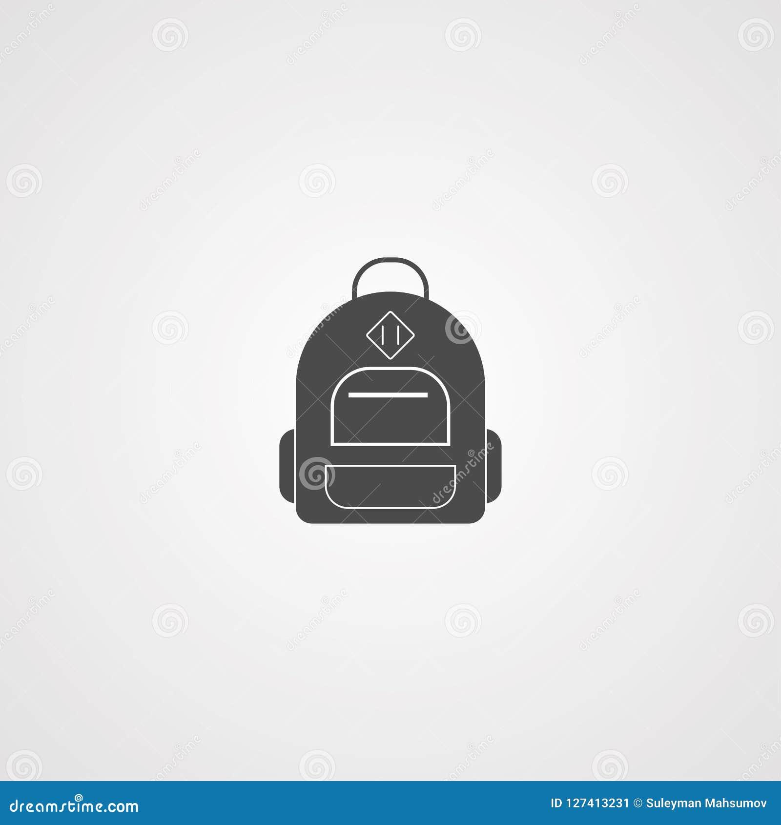 Символ знака значка вектора рюкзака