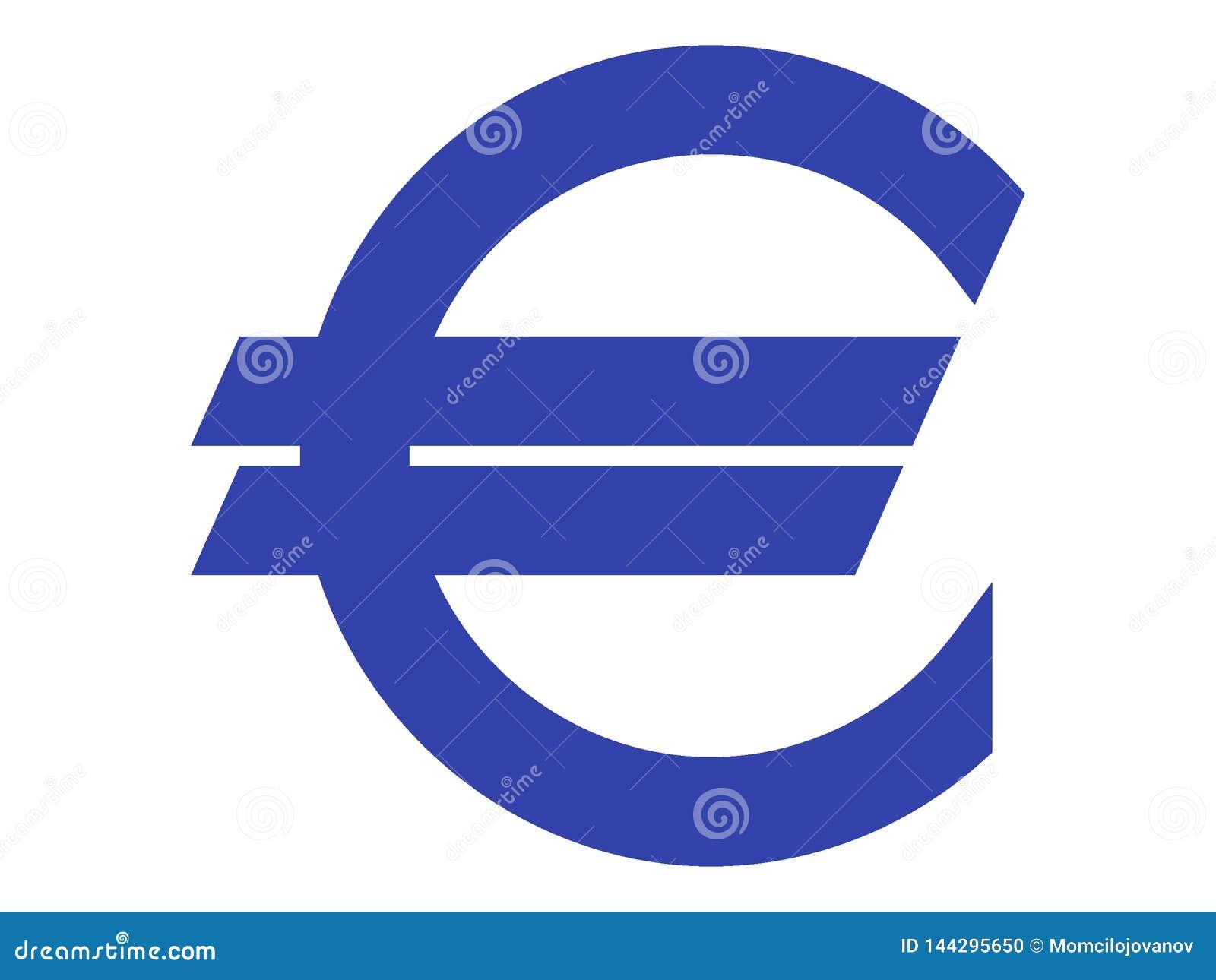 Символ сини евро на белизне
