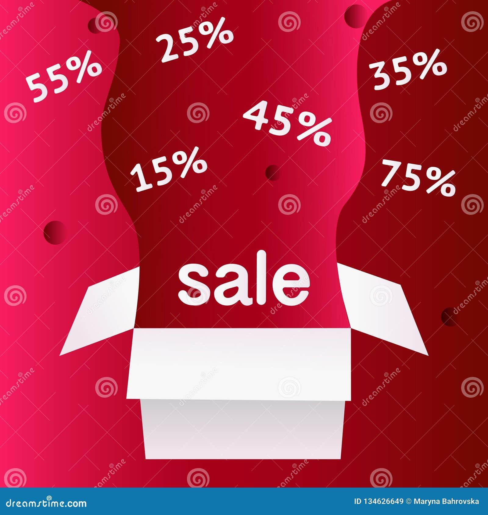 Символ скидки продажи особенного предложения с открытыми ярлыками подарка и подачи изолированными на светлой красной предпосылке