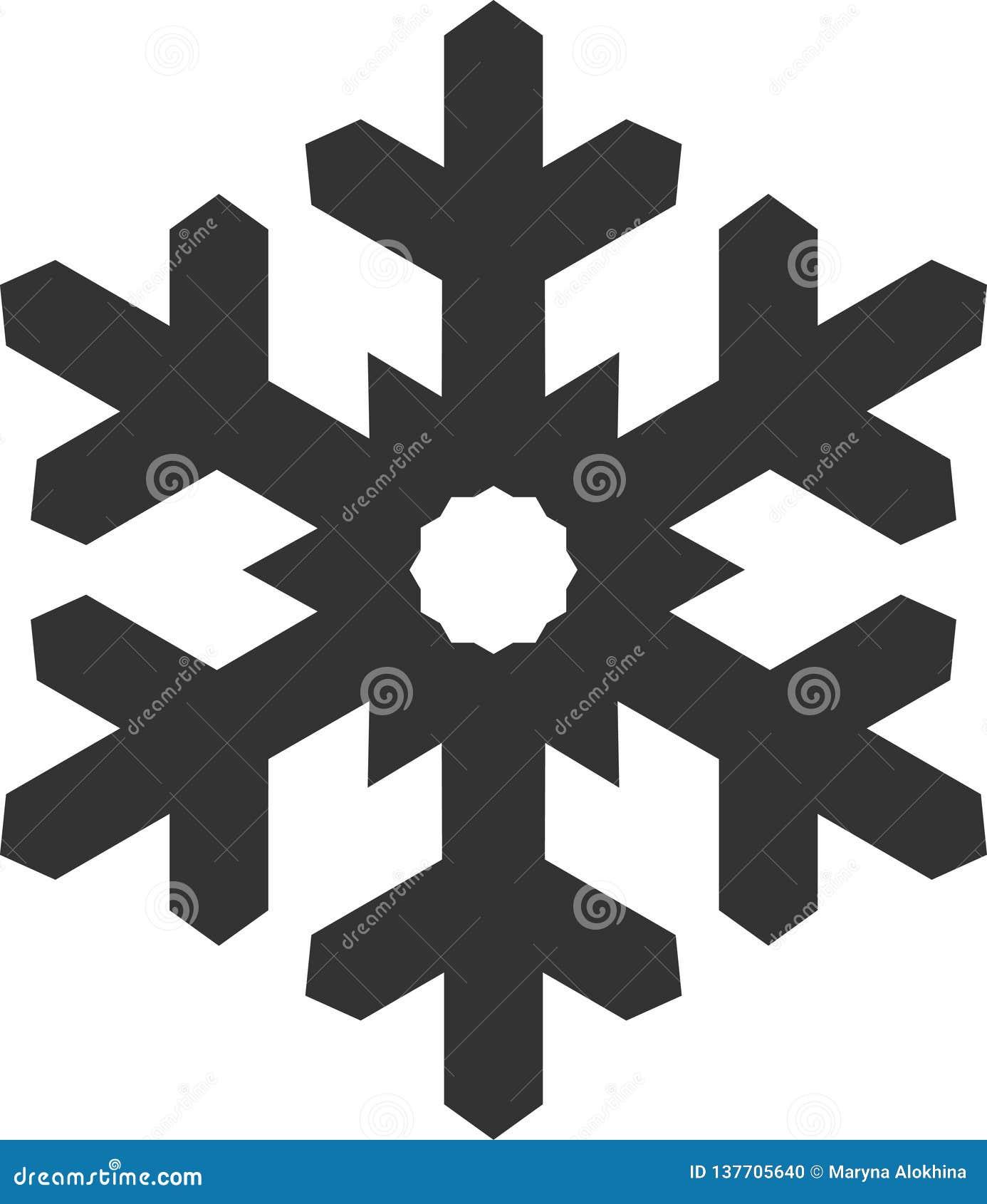 Символ снежинки Иллюстрация вектора темы рождества и зимы