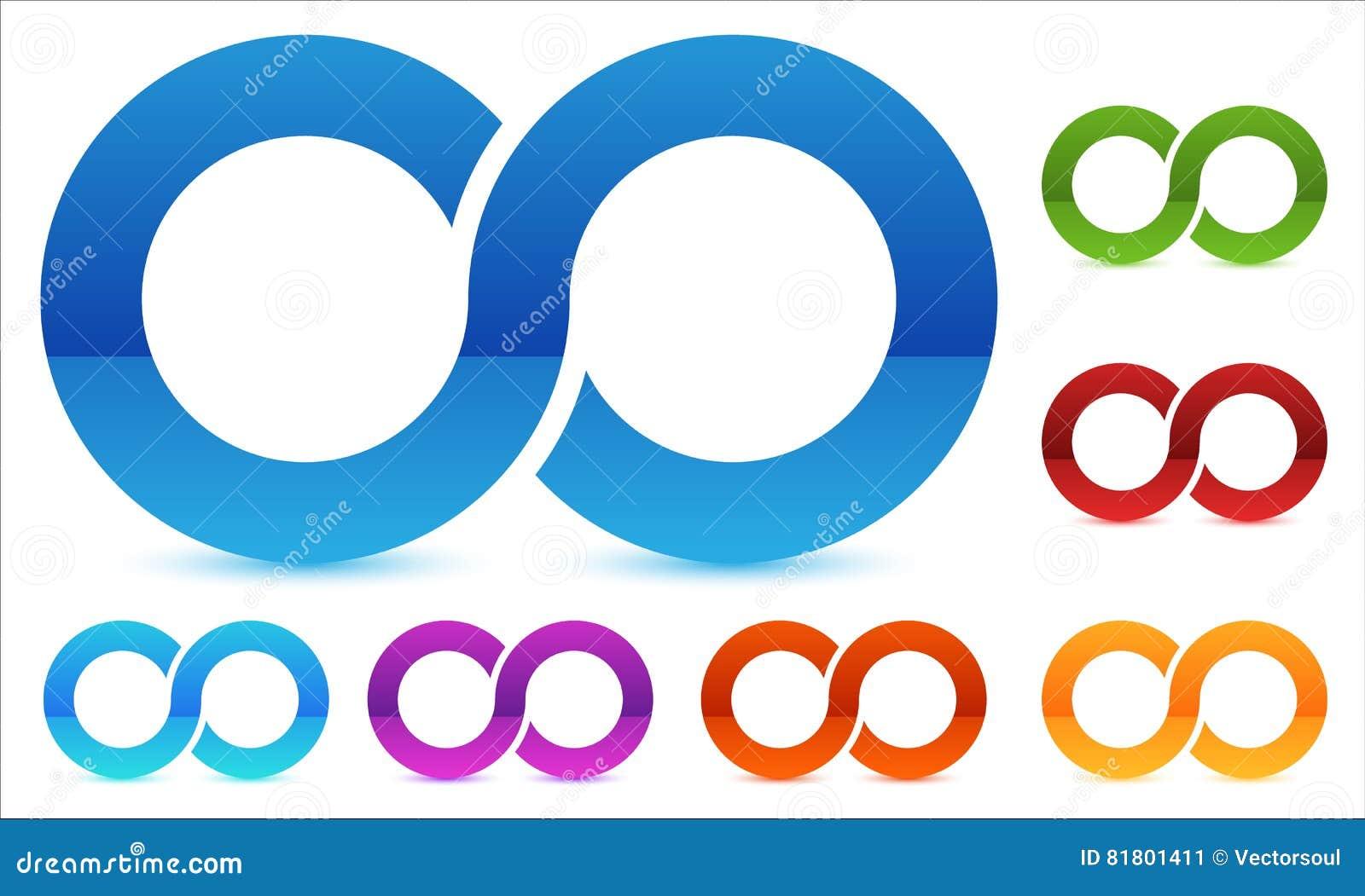 Символ безграничности в несколько красит Значок для непрерывности, петли, конца