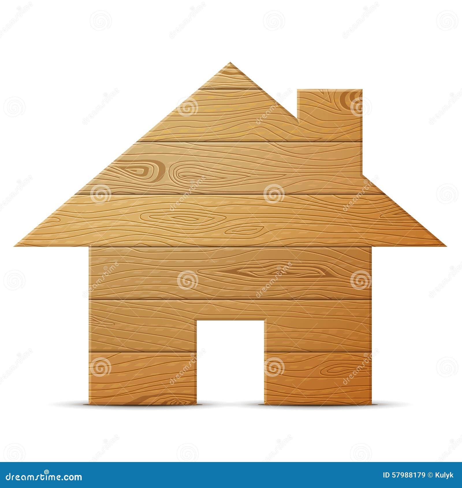 Символ дома древесины на белой предпосылке