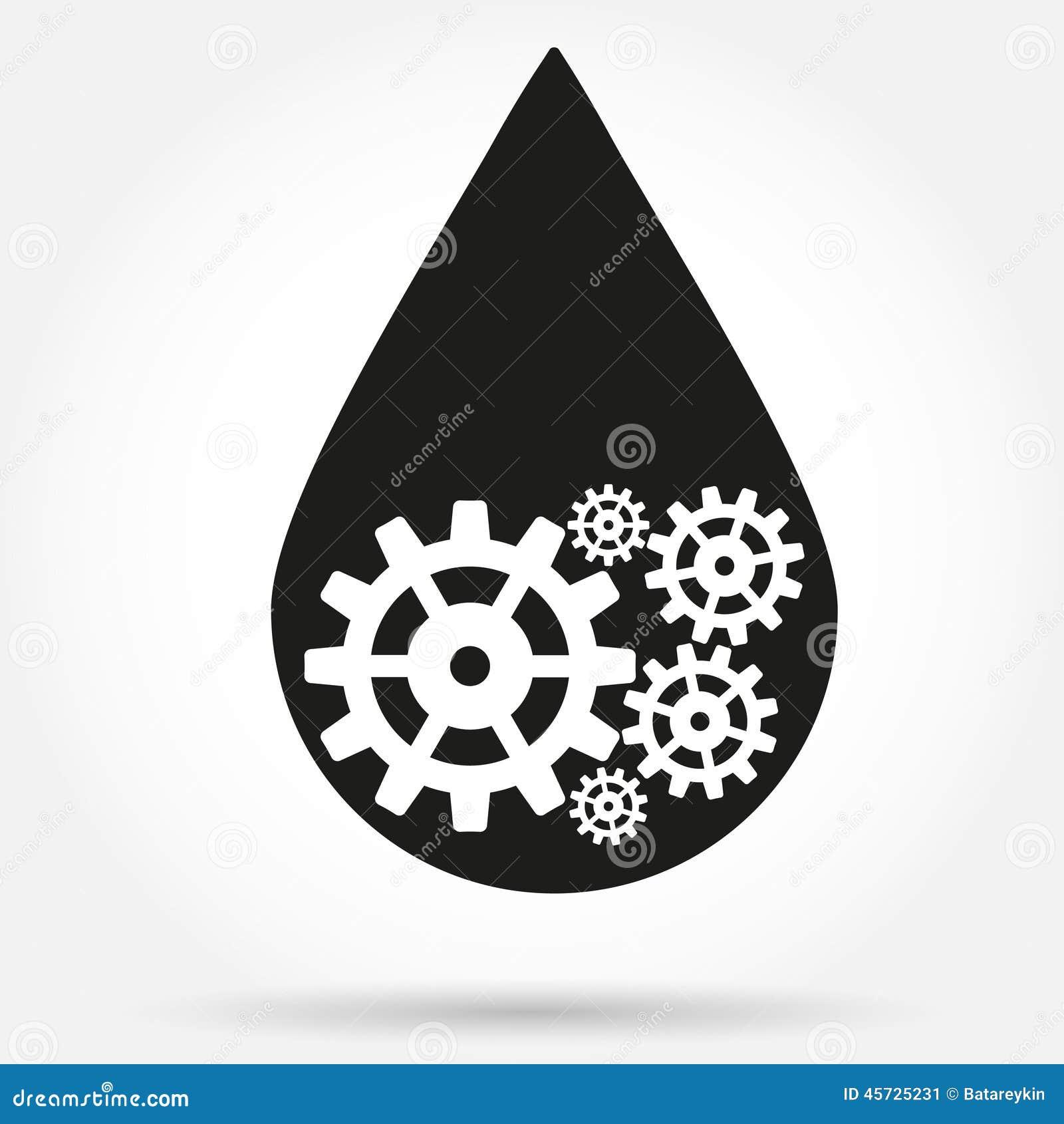 Символ силуэта падения нефтедобывающей промышленности с шестернями