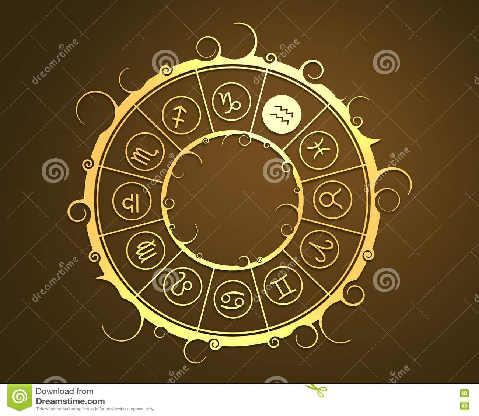 Символы астрологии в золотом круге Знак подателя воды