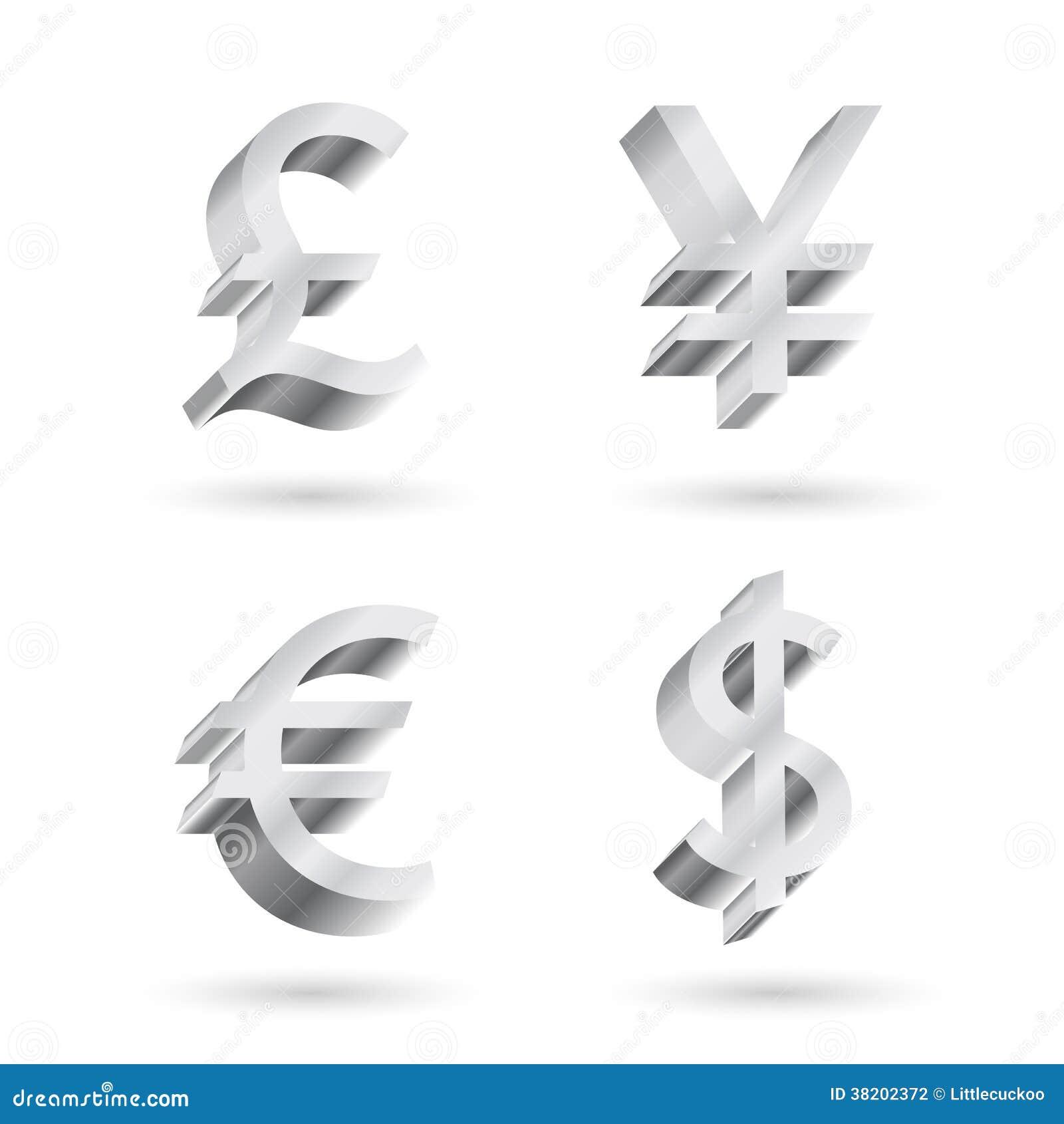 Символы валюты серебряные