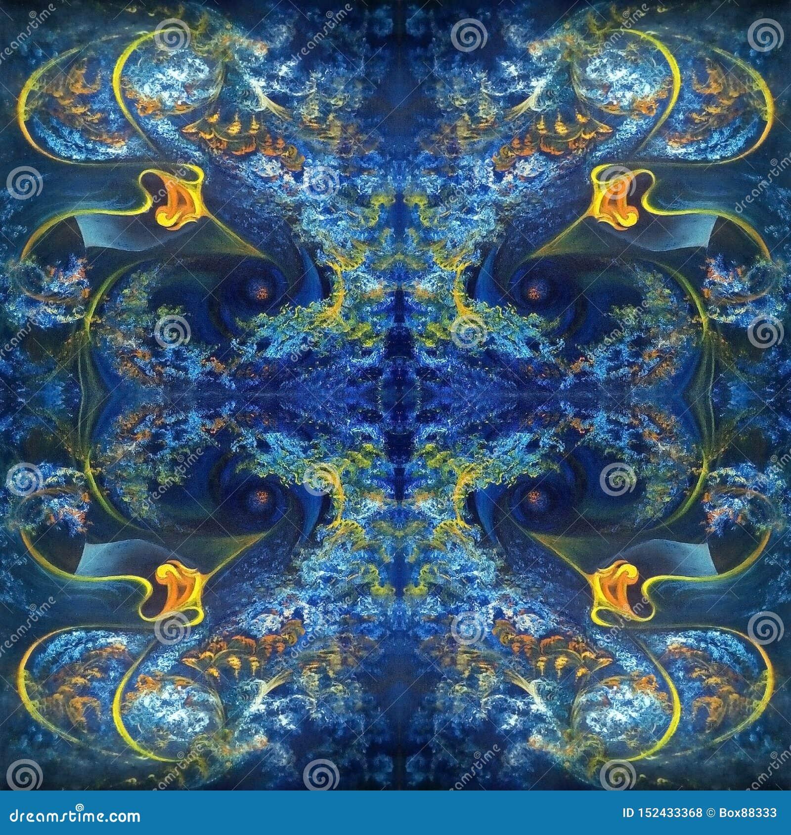 Симметричная абстрактная картина в сини с оранжевыми элементами E