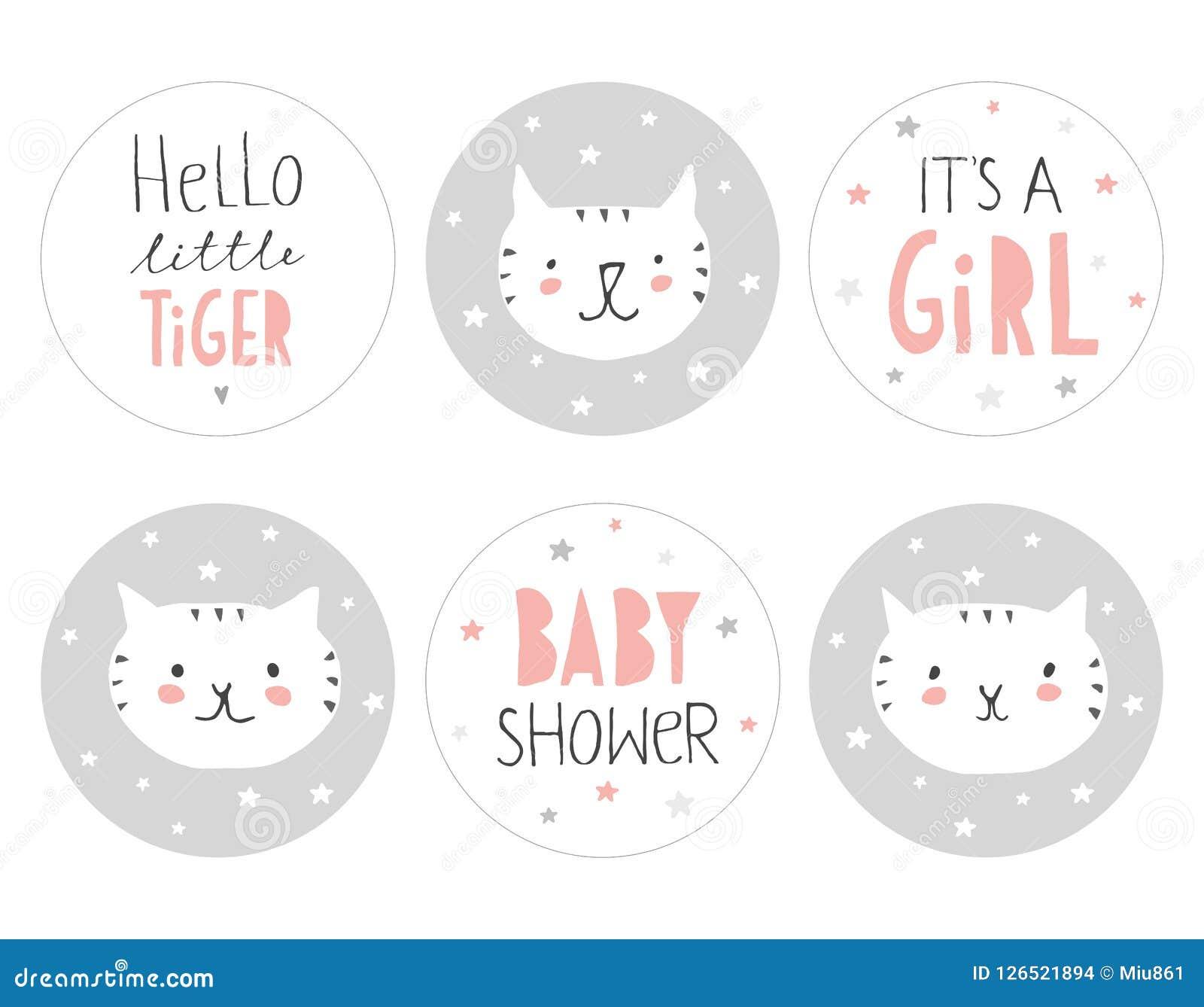 Симпатичный комплект бирки округлой формы детского душа Здравствуйте! маленький тигр
