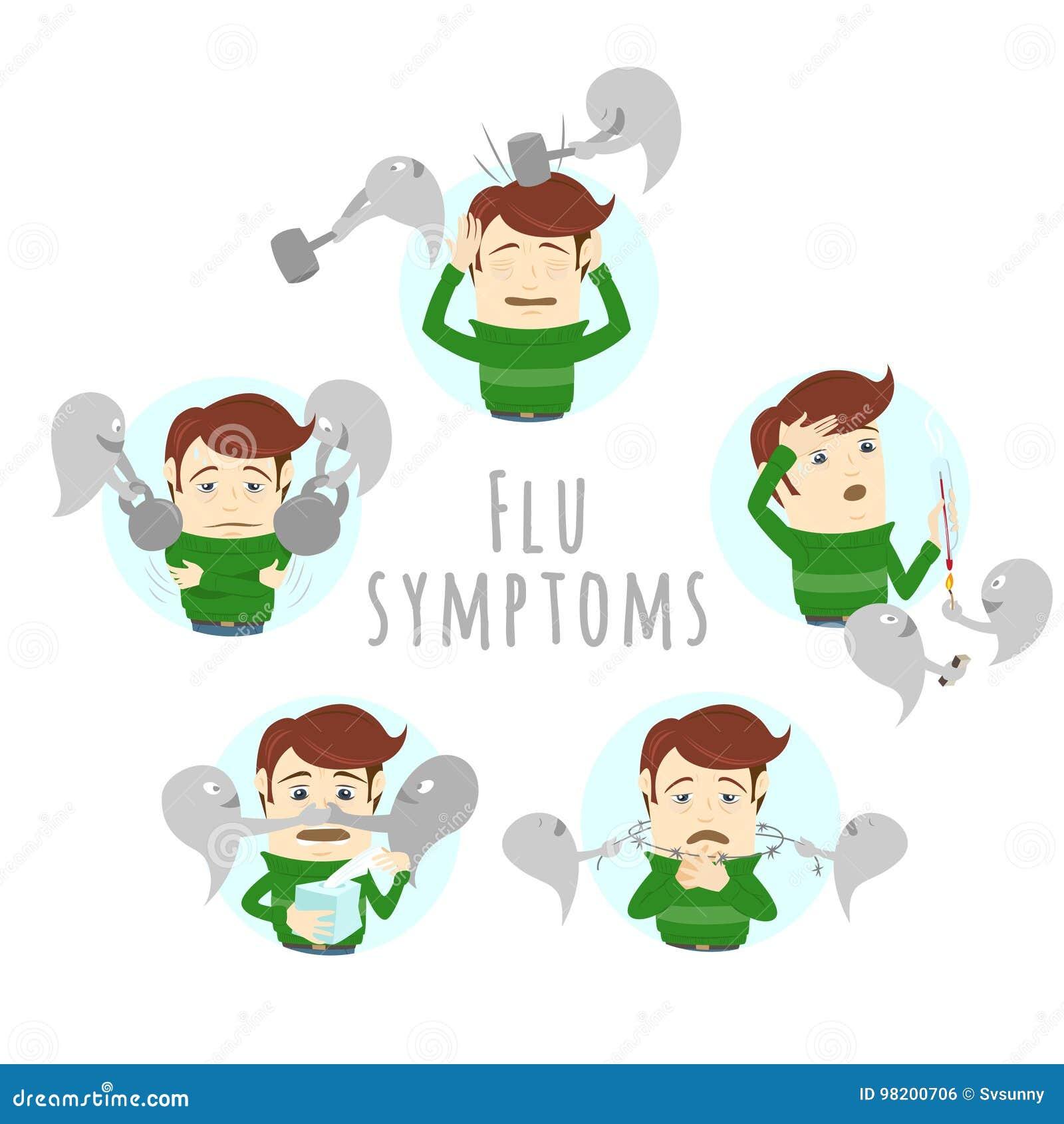 Download Симптомы простуды гриппа инфлуензы Человек страдает холод, лихорадку Иллюстрация вектора - иллюстрации насчитывающей здоровье, grippe: 98200706