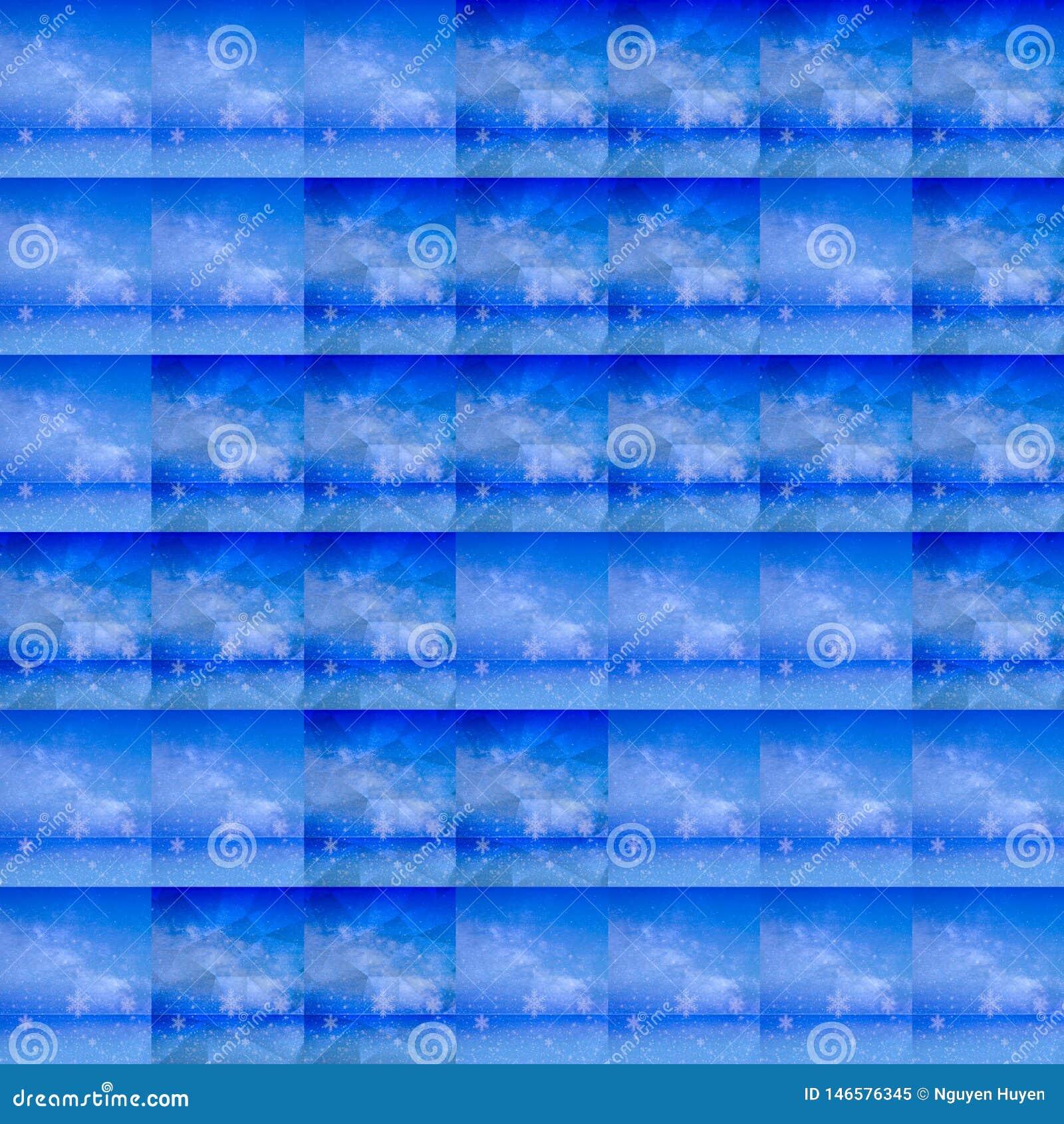 Симуляции предпосылки льда с цвета лед клетками решетки, мягкой синью