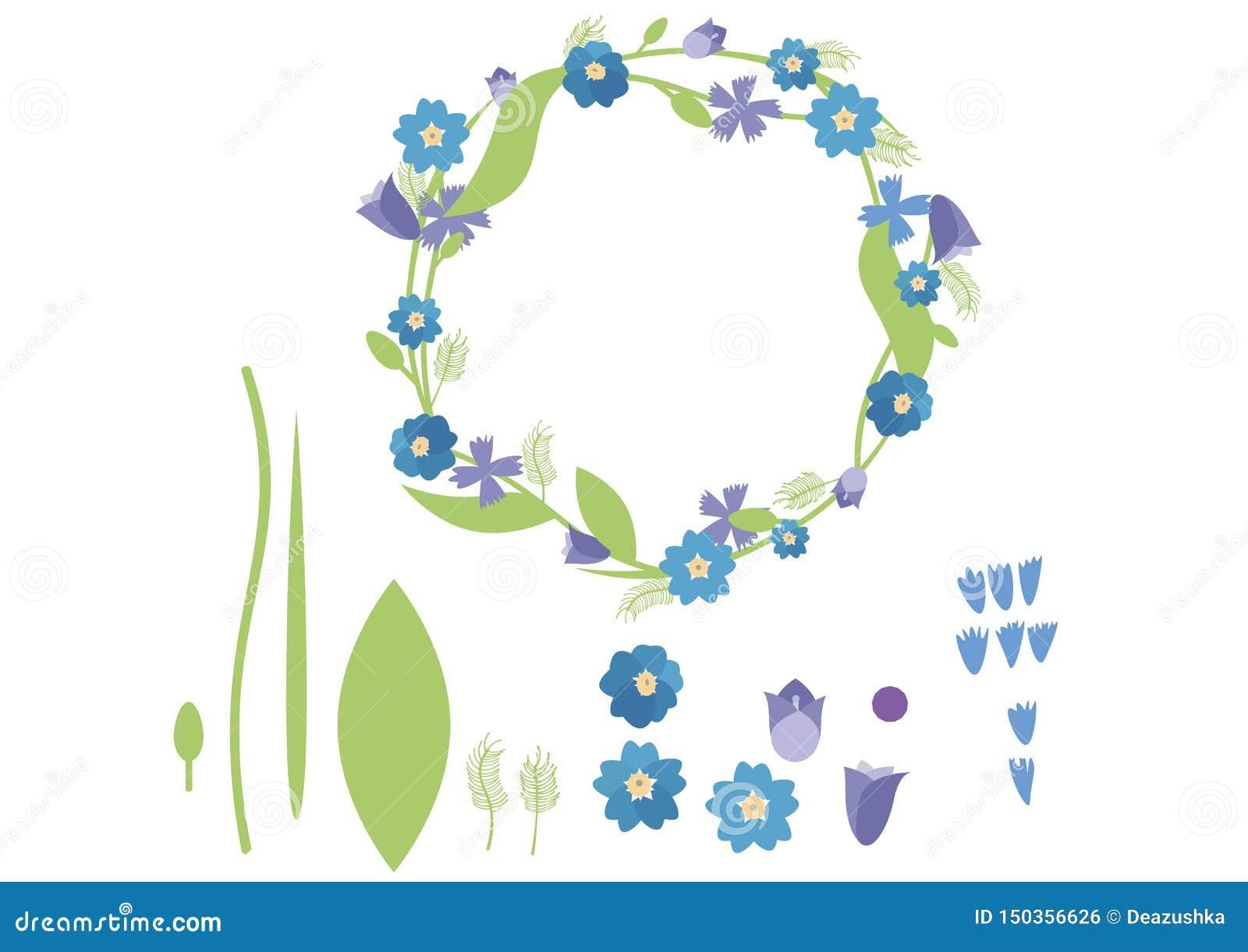 Синь зеленого цвета лета пакета плоского венка цвета doodle мультфильма печати установленная
