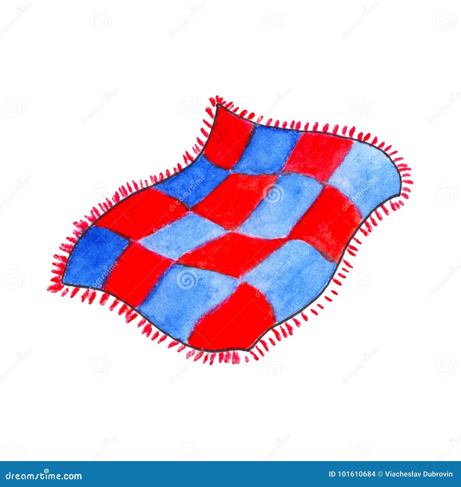 Синь и красное одеяло акварелями на белой предпосылке Шотландка тартана для кровати