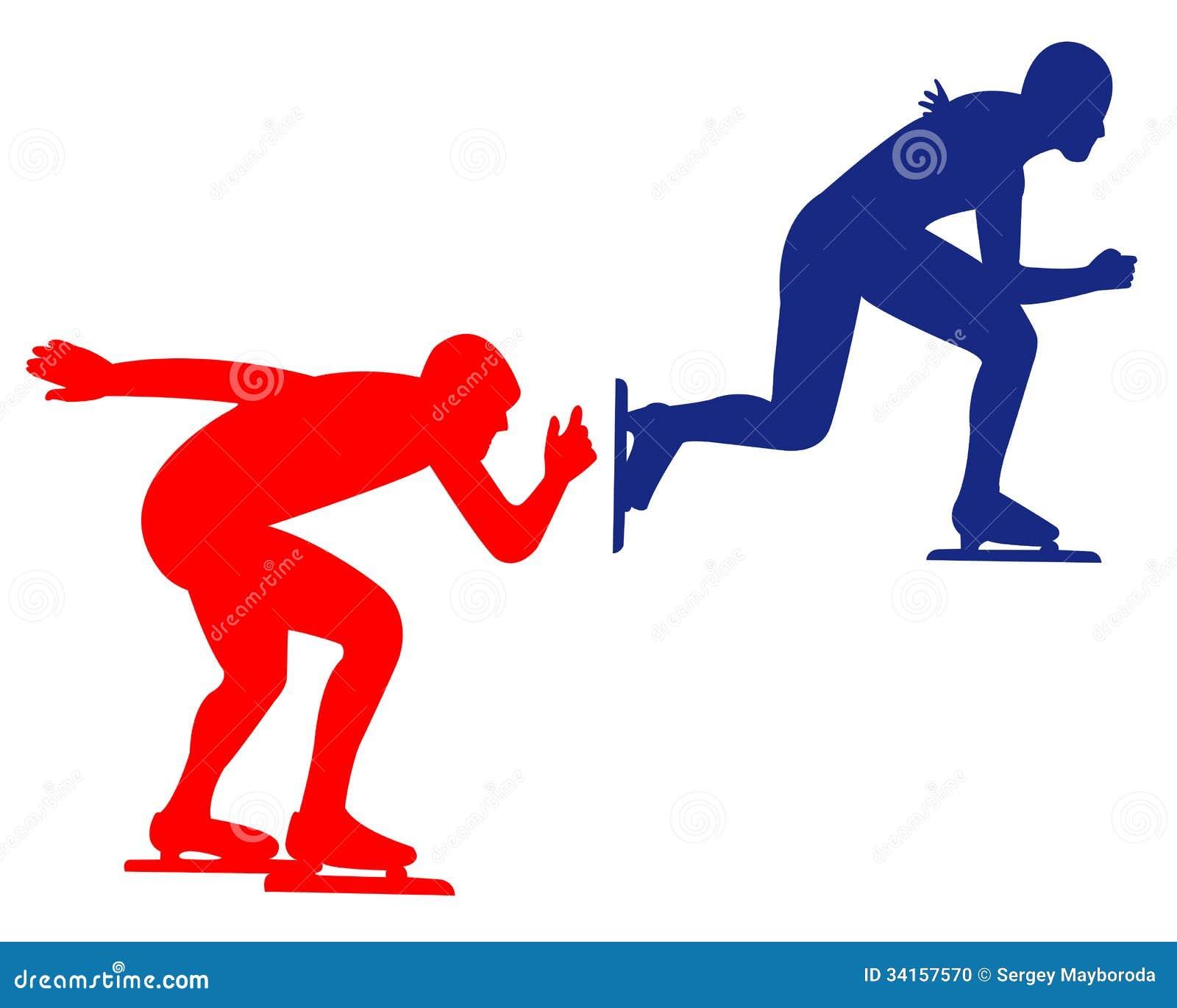 Синь и красный катаясь на коньках спорт
