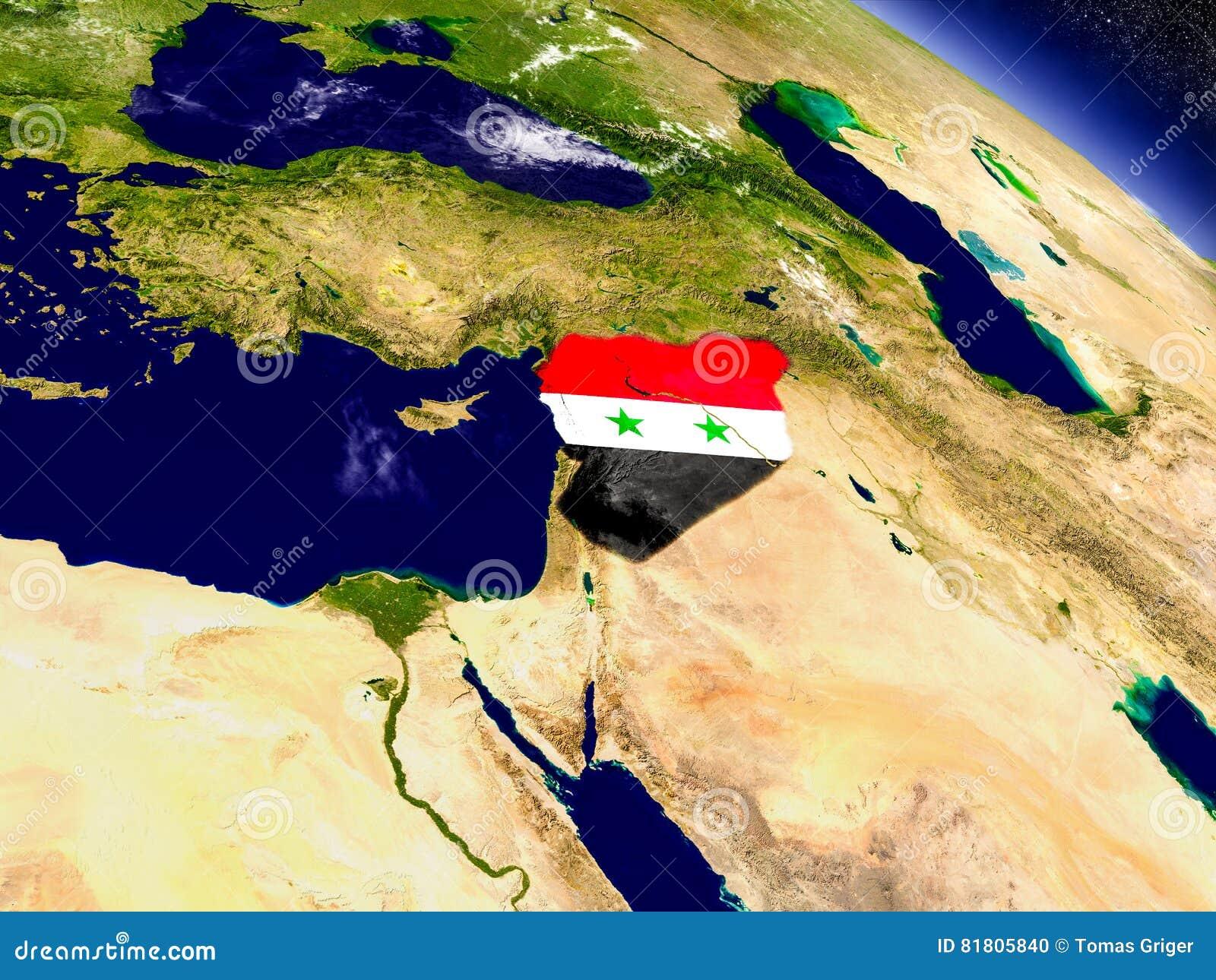 Сирия с врезанным флагом на земле
