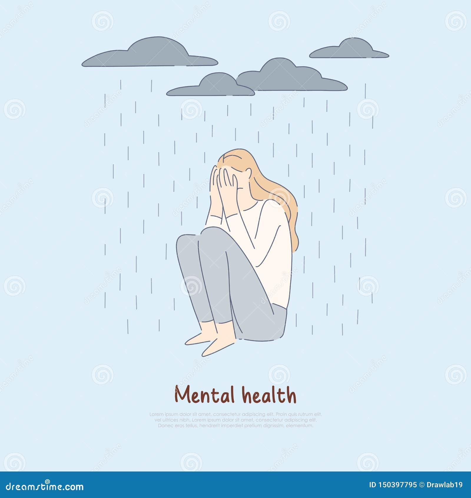 Сиротливая женщина под идя дождь облаками, подавленная девушка сидит самостоятельно, плохое настроение, психическое расстройство,