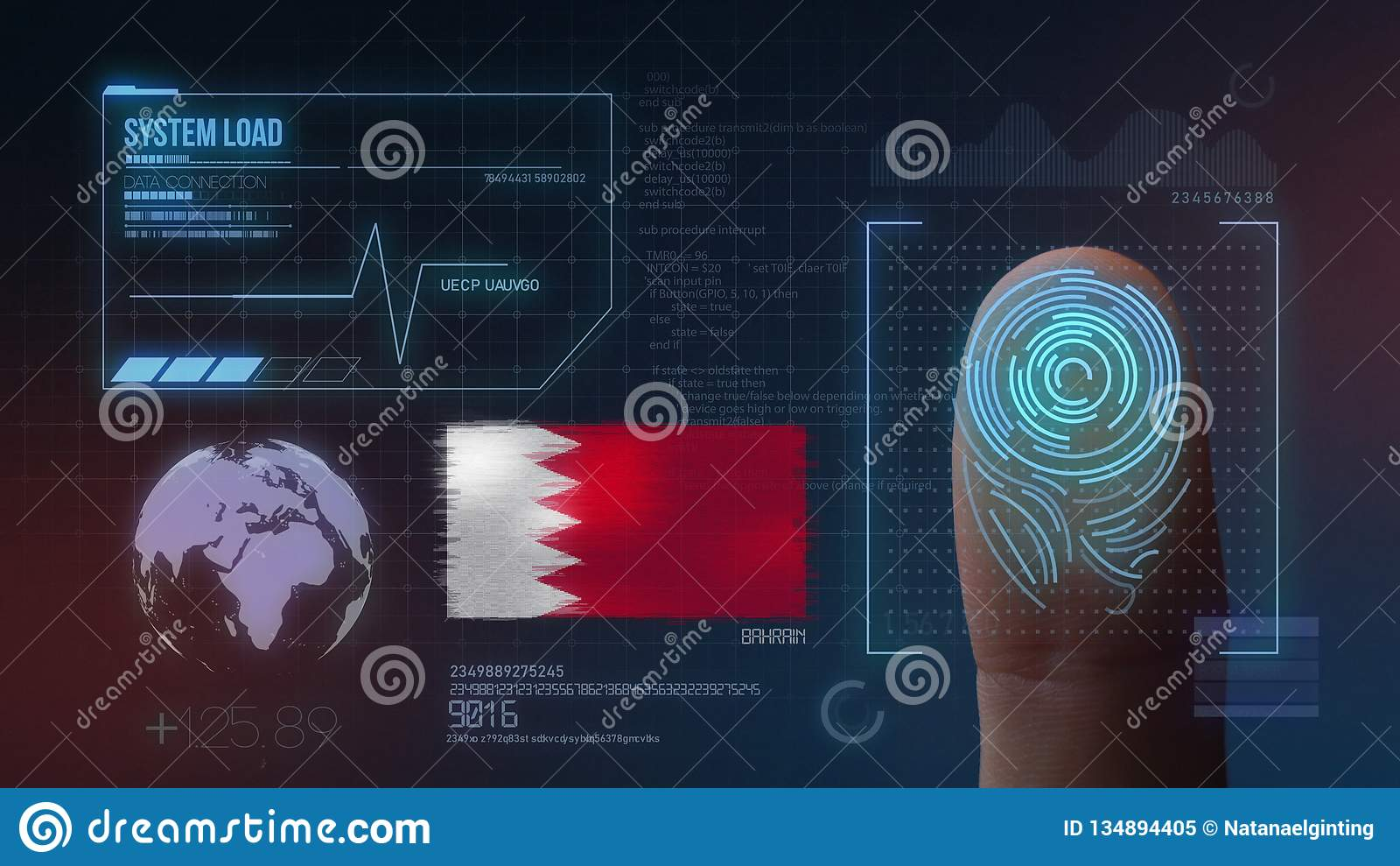 Система опознавания отпечатка пальцев биометрическая просматривая Национальность Бахрейна
