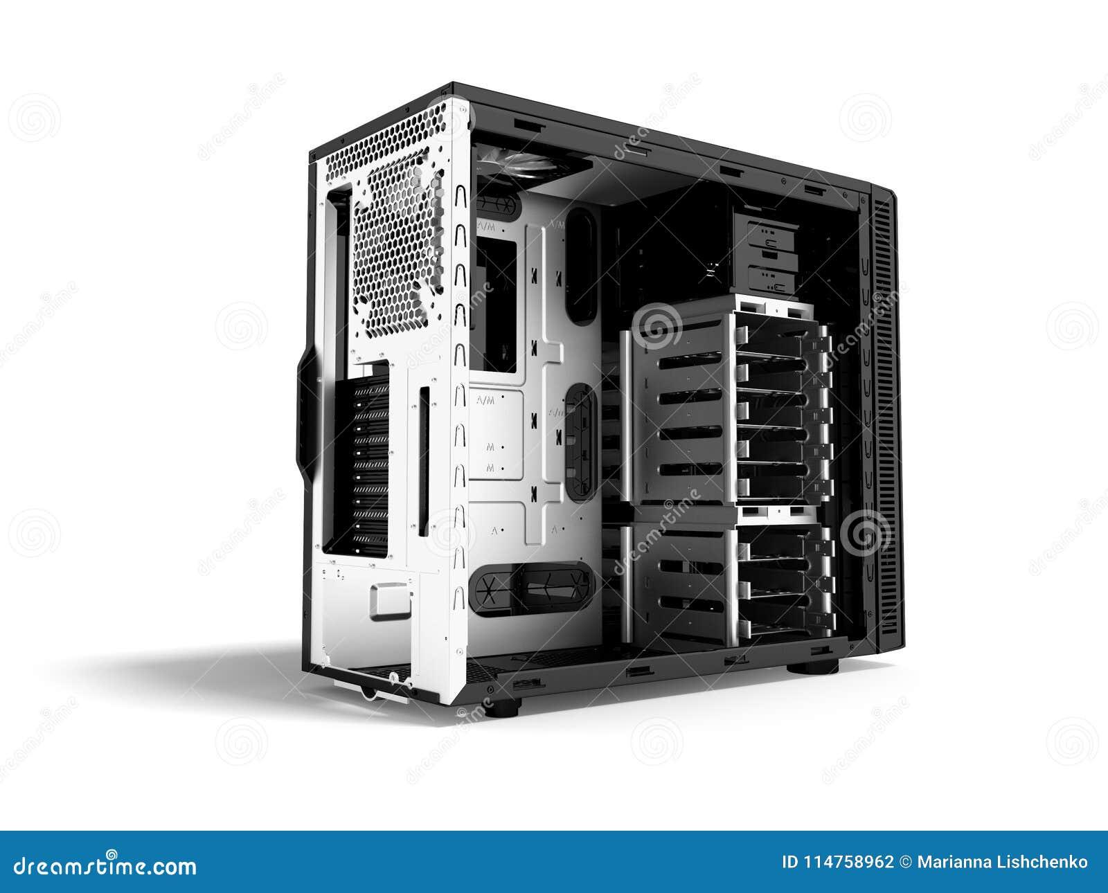 Системный блок металла пустого 3d черноты персонального компьютера представляет на белой предпосылке с тенью