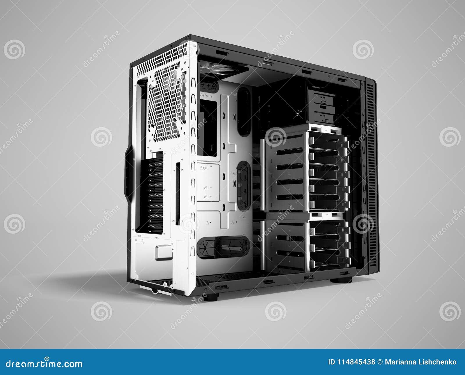Системный блок металла пустого 3d черноты персонального компьютера представляет o