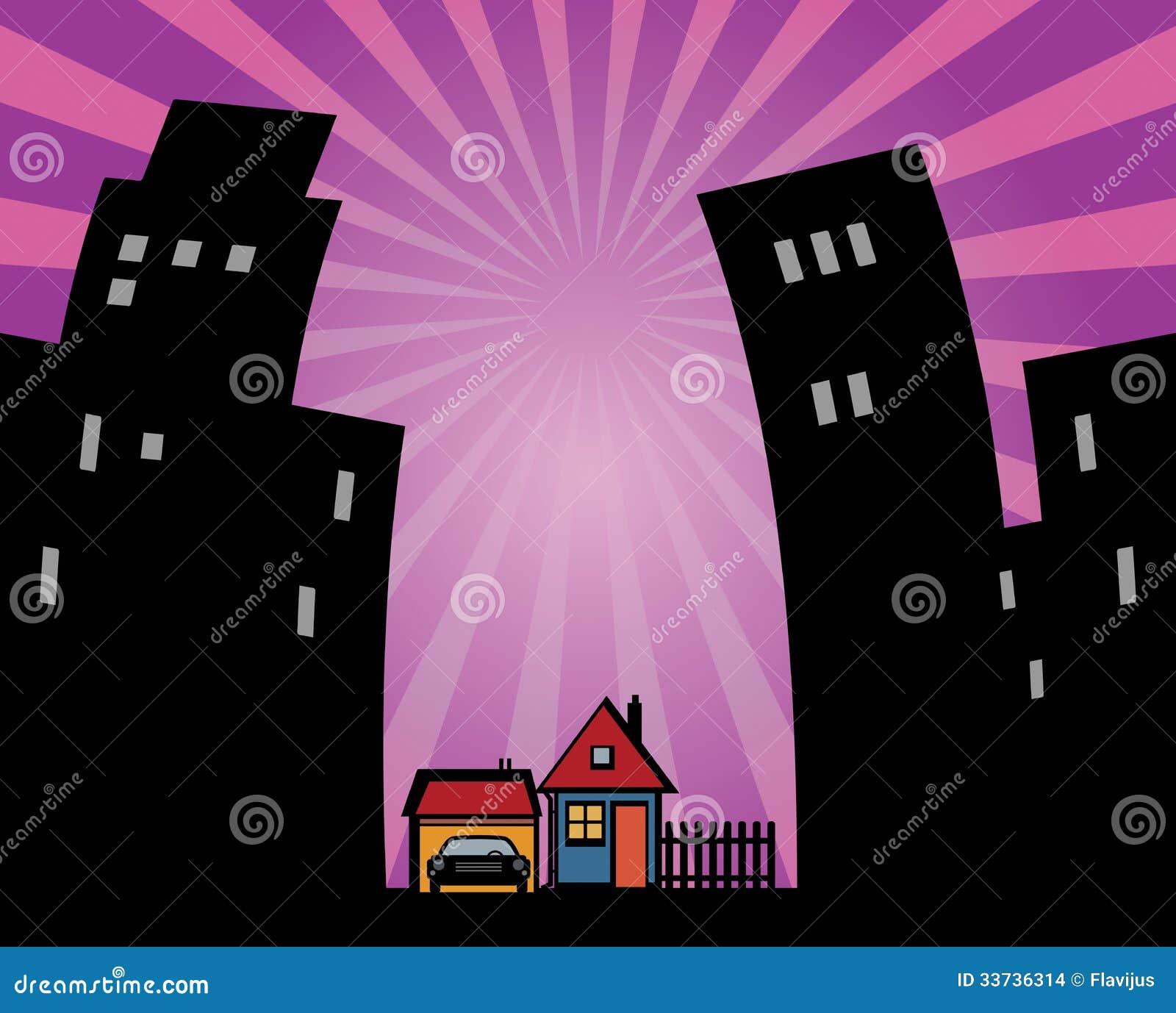 Силуэты домов
