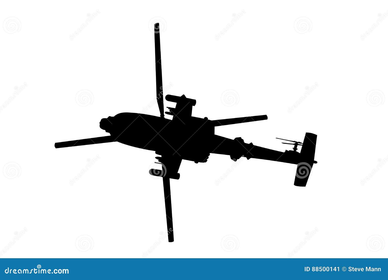 Силуэт артиллерийского корабля вертолета