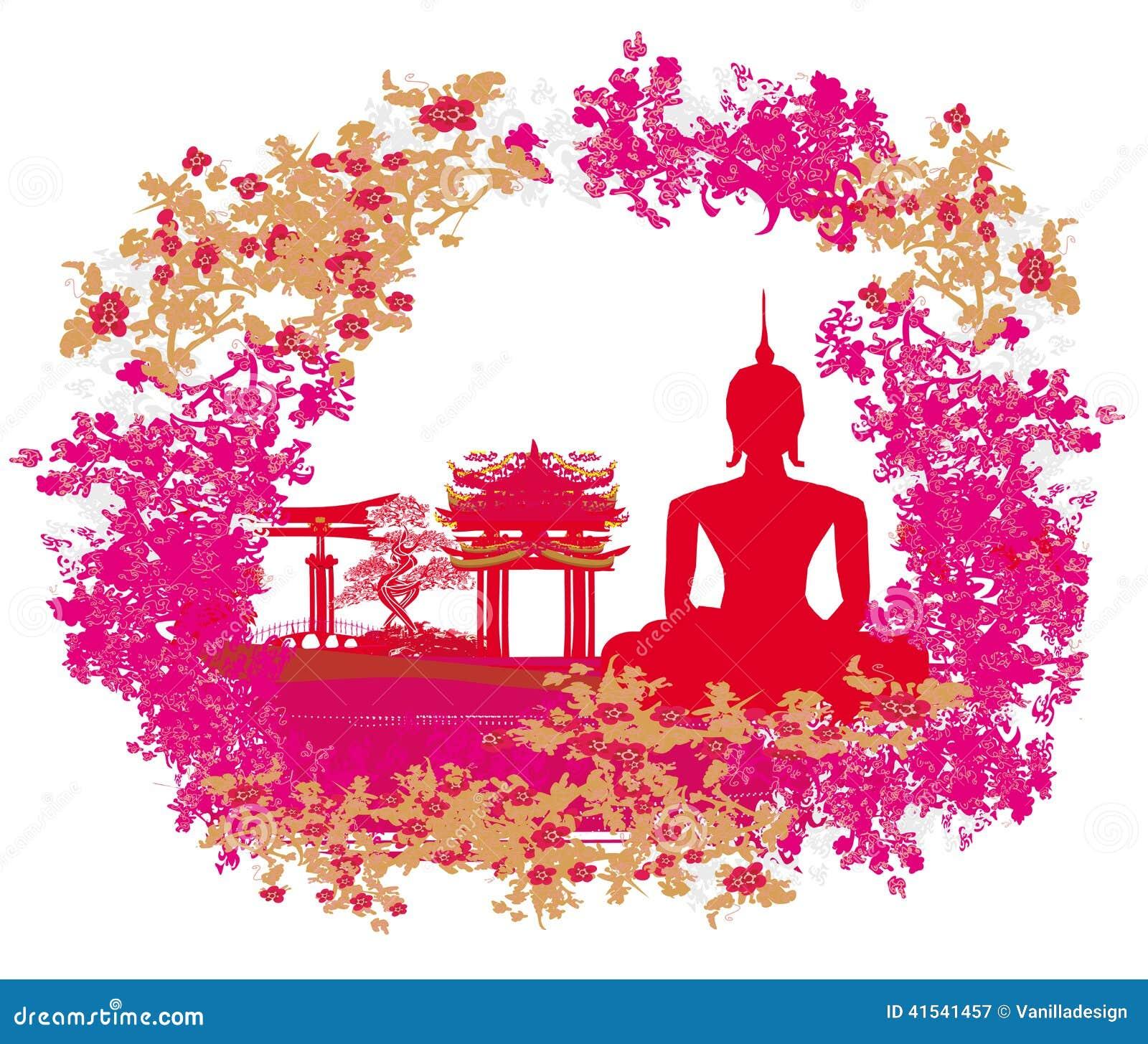 Силуэт Будды, азиатский ландшафт в текстуре grunge