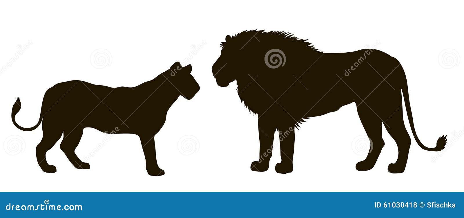 Силуэт вектора пары львов