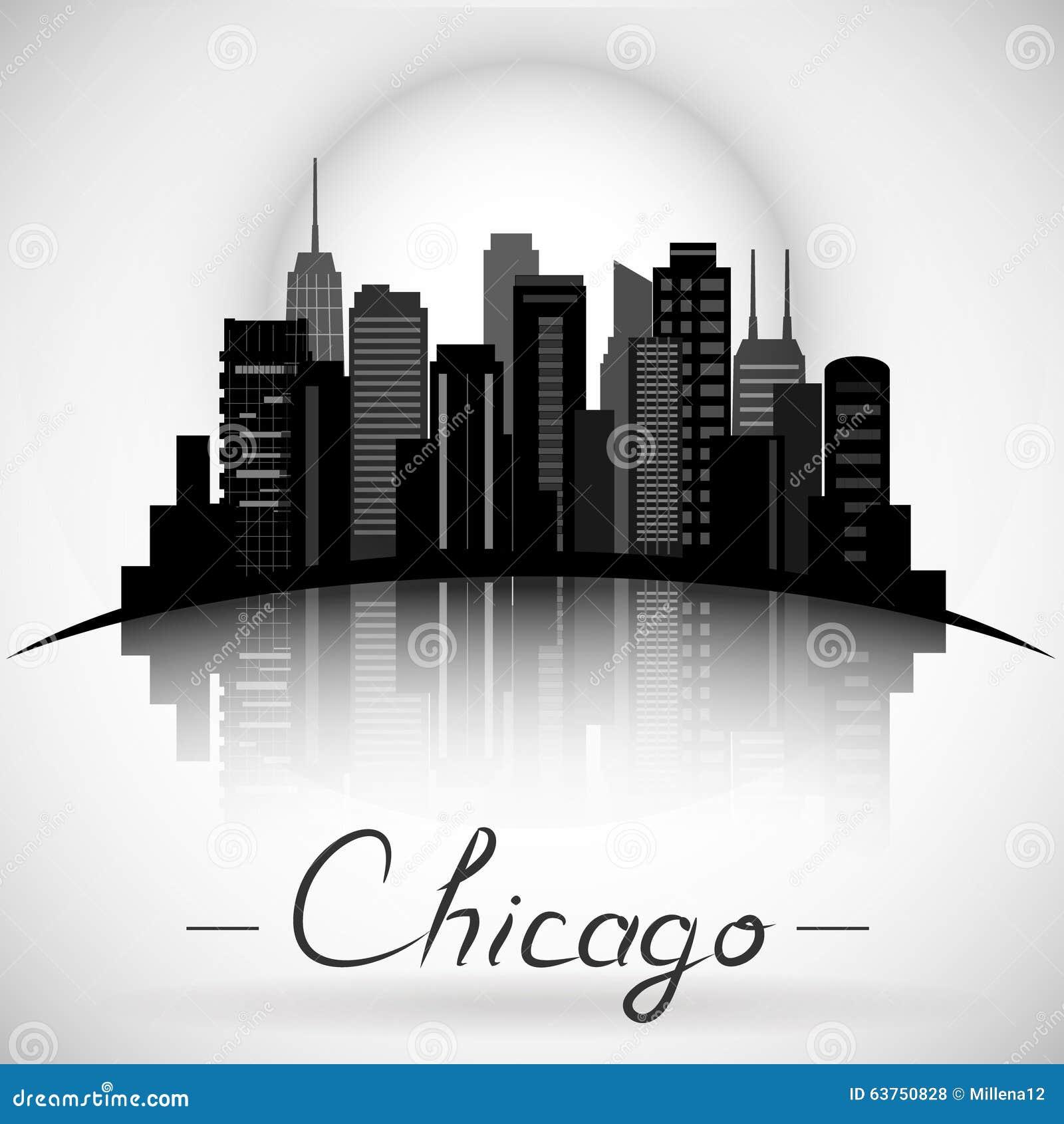 Силуэт горизонта города Чикаго Иллинойса Типографская конструкция