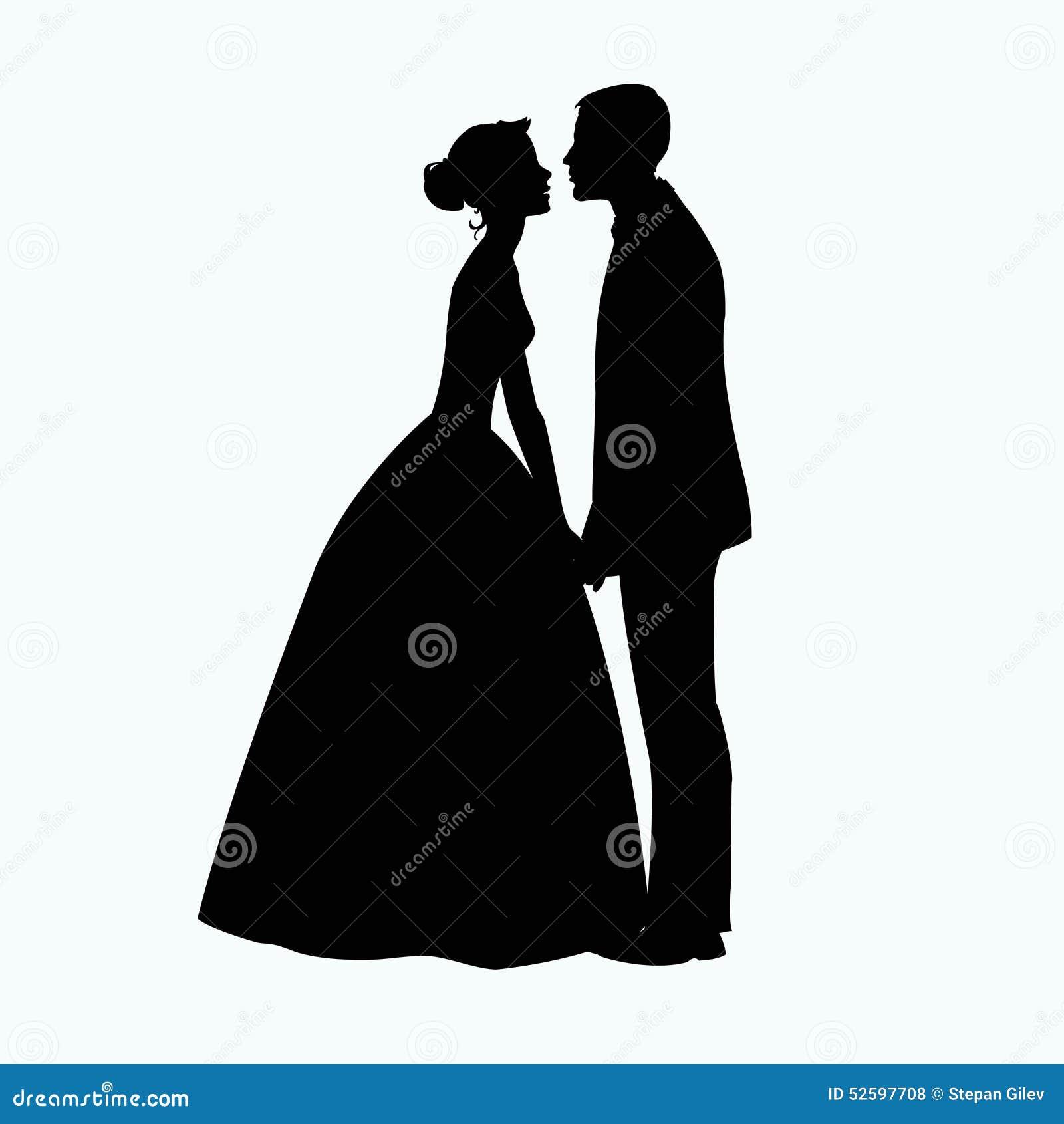 картинки силуэт невесты и жениха