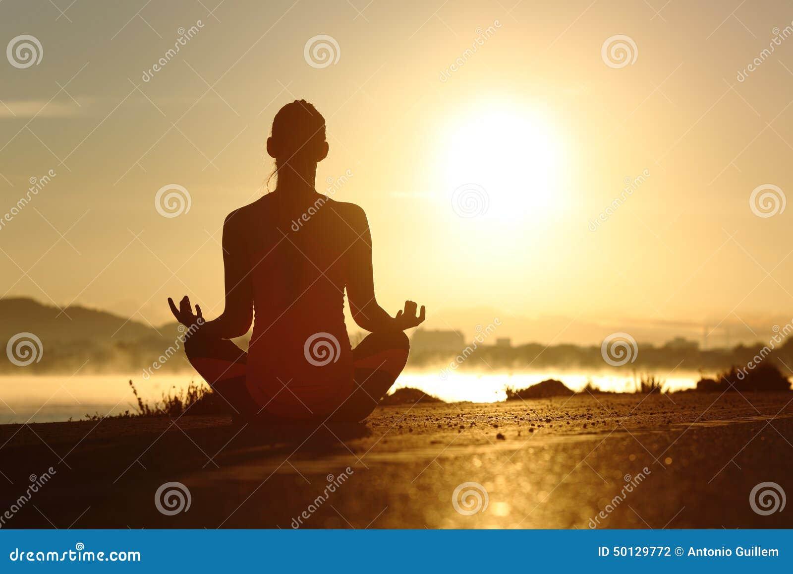 Силуэт женщины фитнеса работая раздумье йоги работает