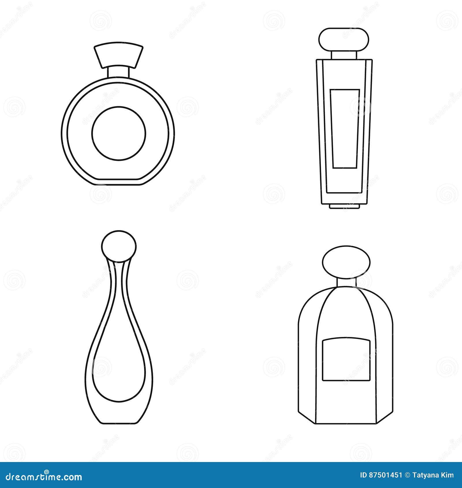 Силуэт изолированный дух на прозрачной предпосылке бутылки душат комплект благоухание Продукты парфюмерии
