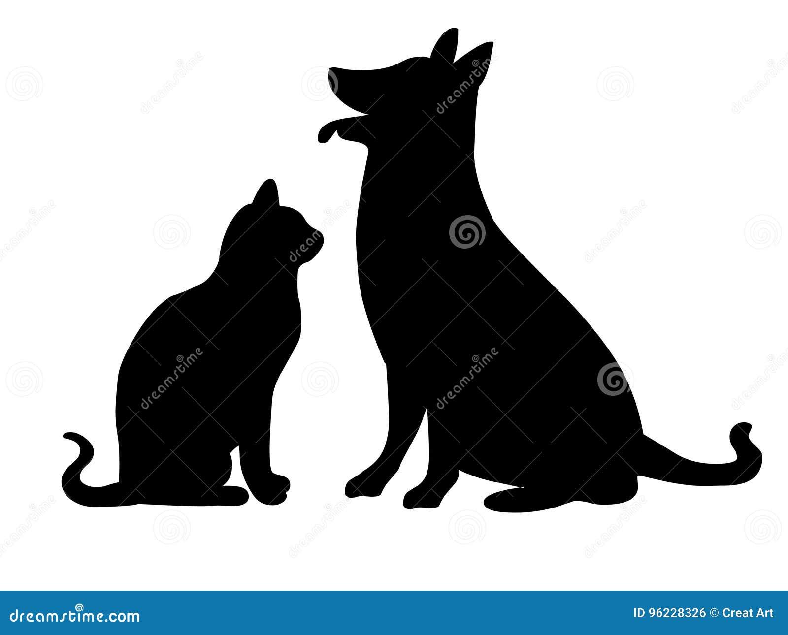 Силуэт кота и собаки