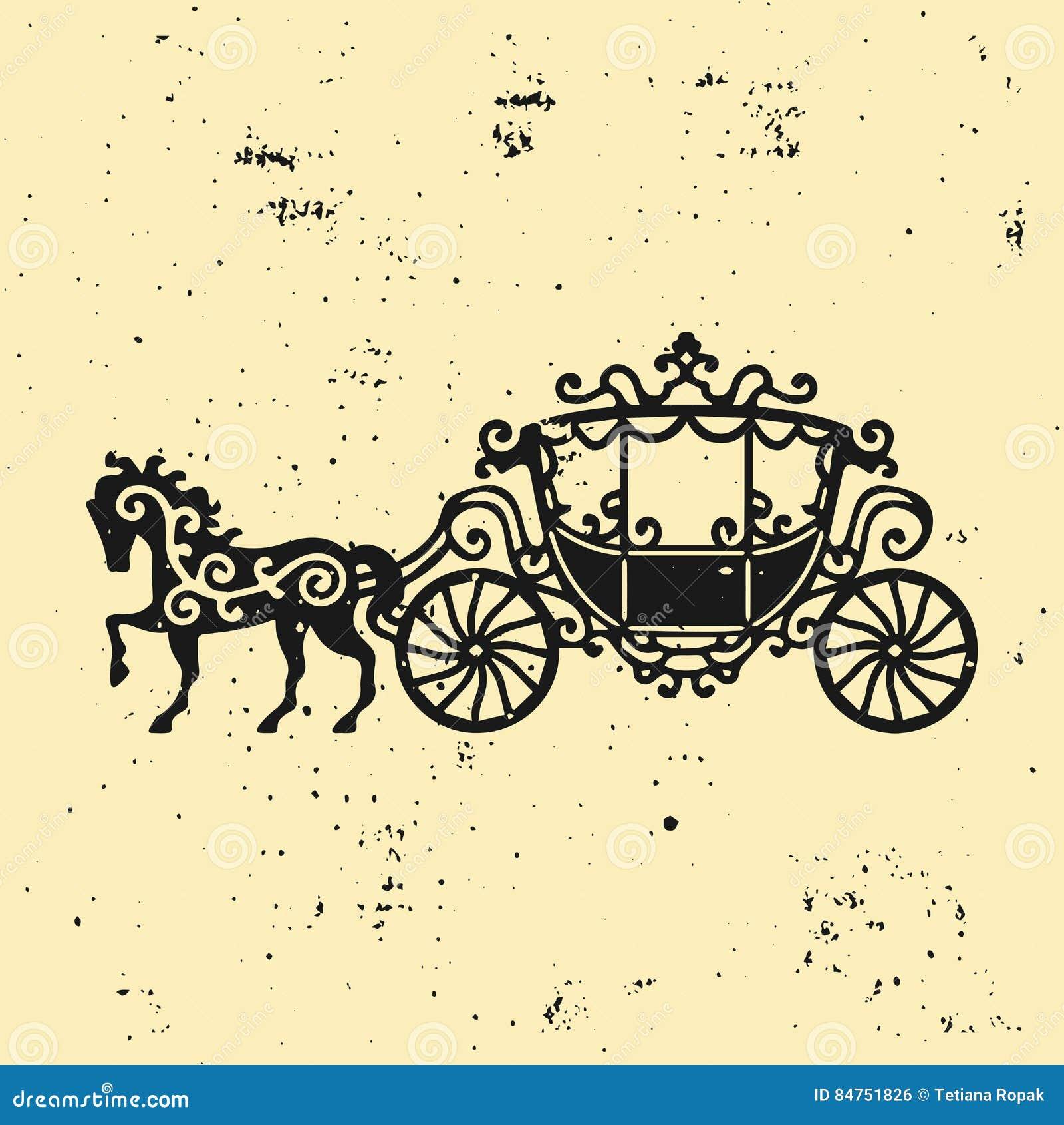 Силуэт Лошад-экипажа с лошадью Иллюстрация вектора brougham в стиле барокко Винтажный экипаж изолированный на темном backgrou