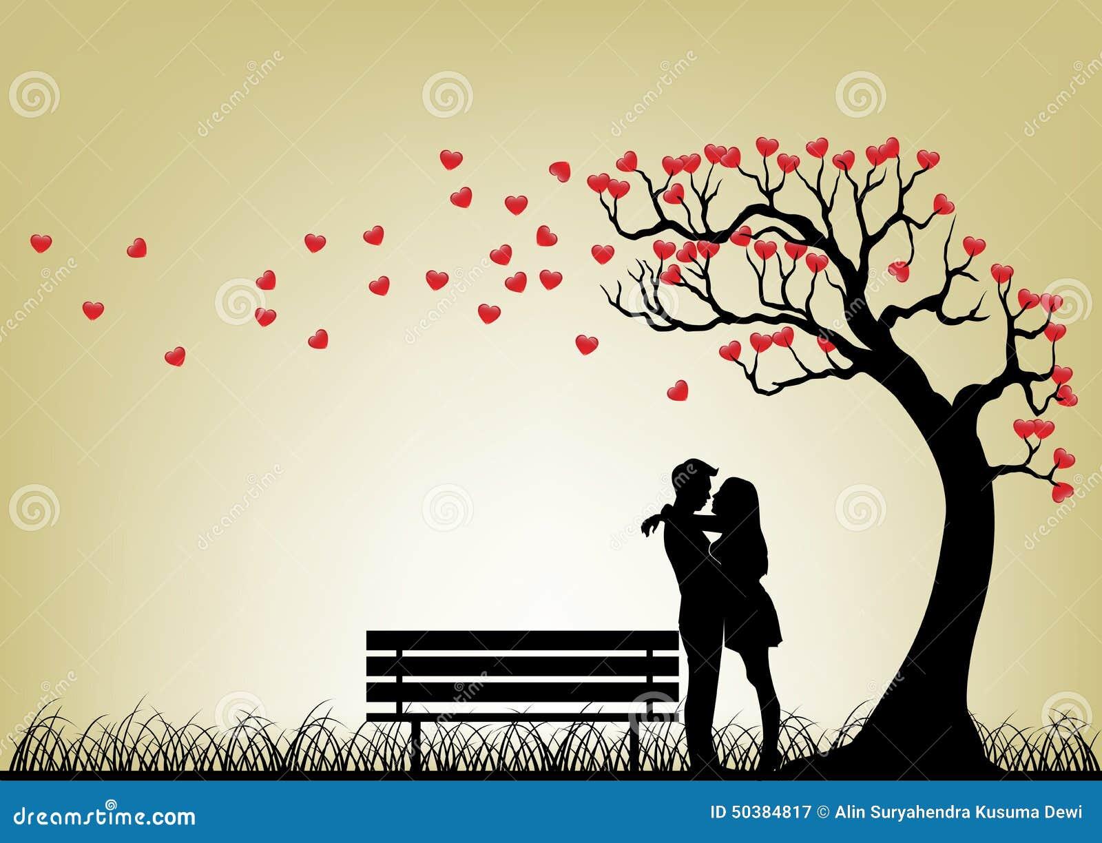 Силуэт пар датировка под деревом влюбленности
