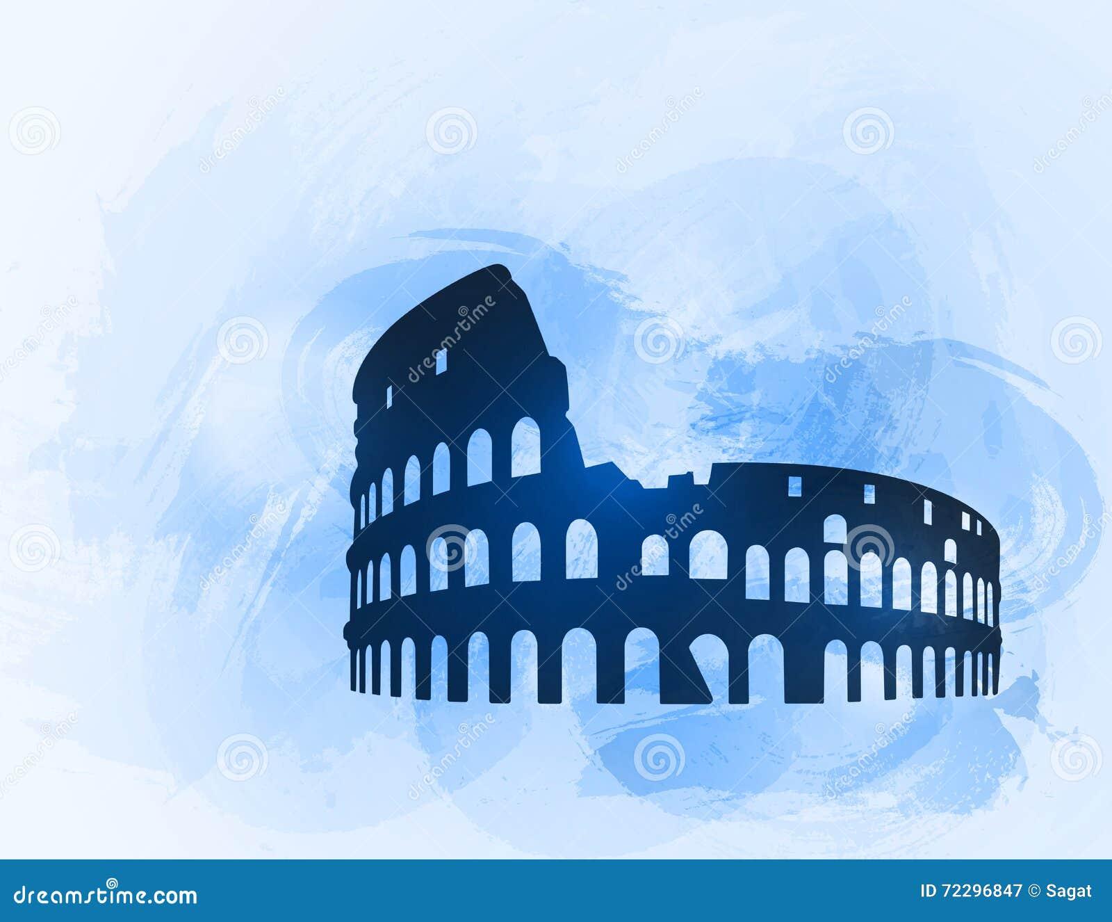 Download Силуэт руин Колизея на красочной предпосылке Иллюстрация вектора - иллюстрации насчитывающей европа, памятник: 72296847
