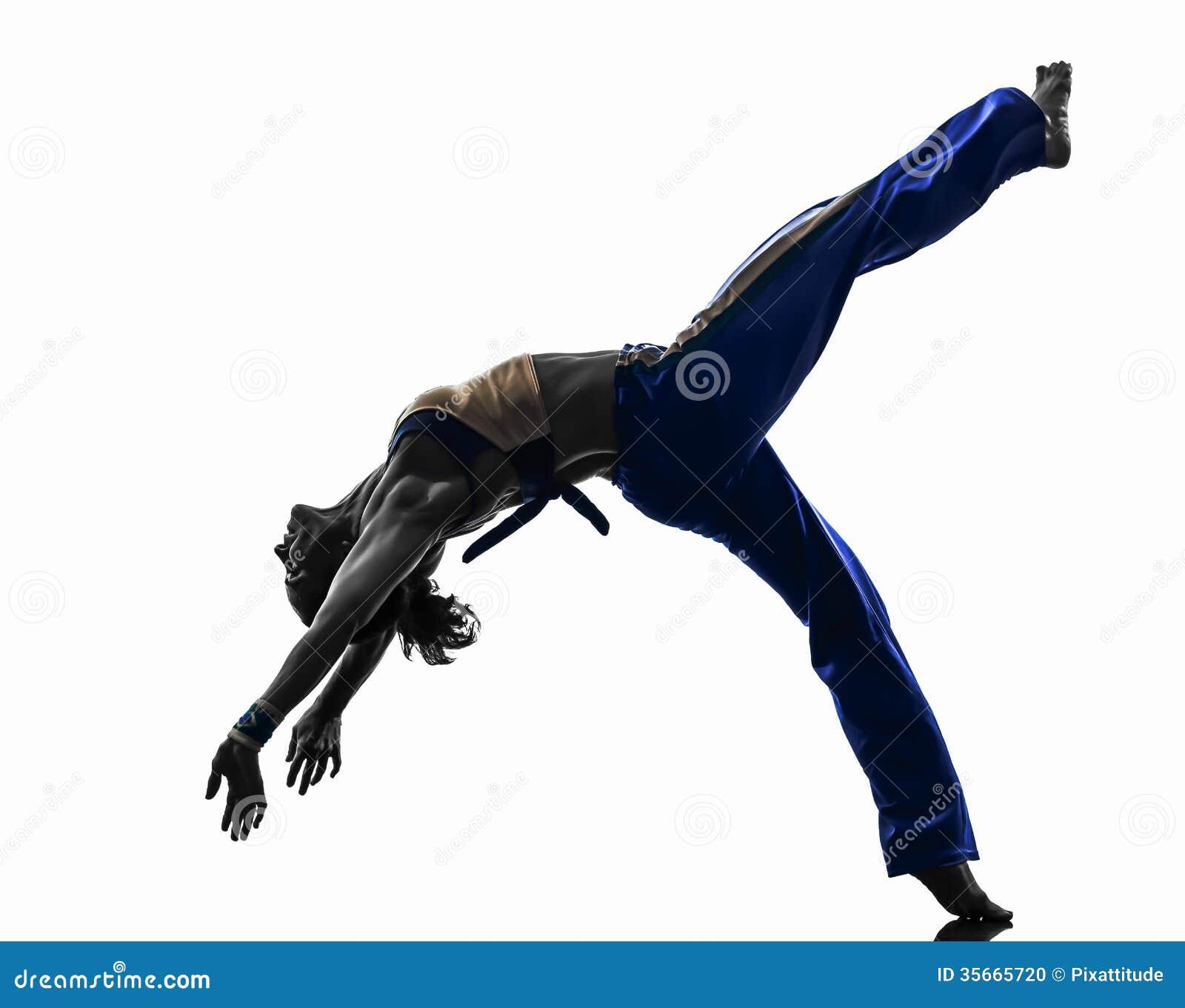 Силуэт танцев танцора capoeira женщины