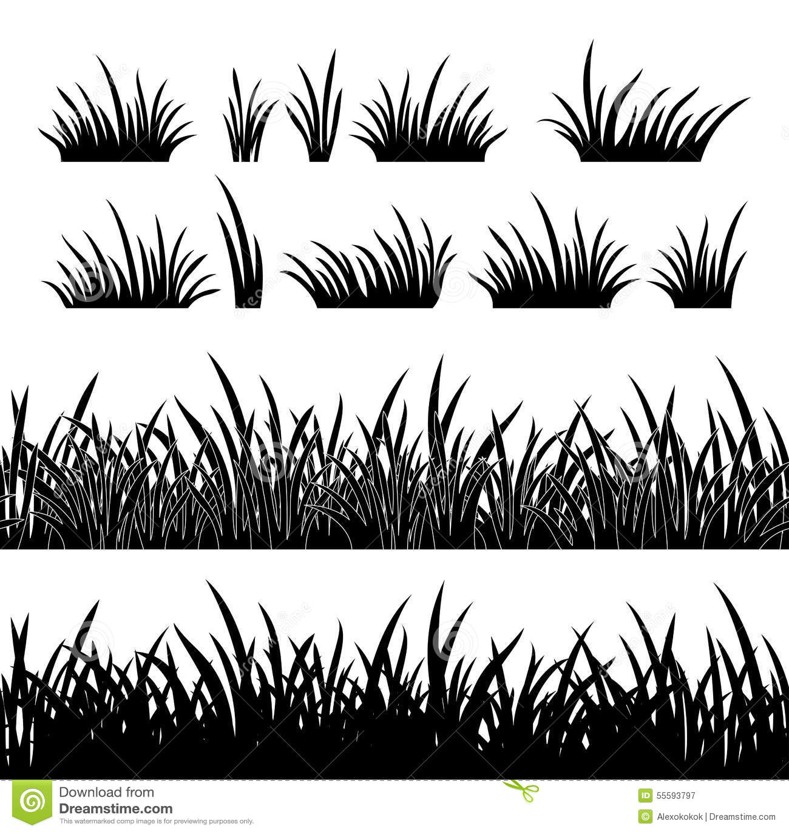 Силуэт травы, безшовный