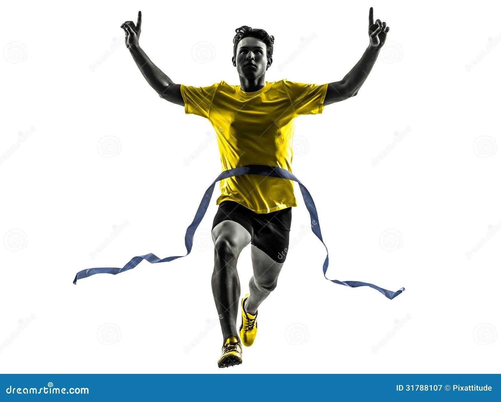 Силуэт финишной черты победителя бегуна спринтера молодого человека идущий