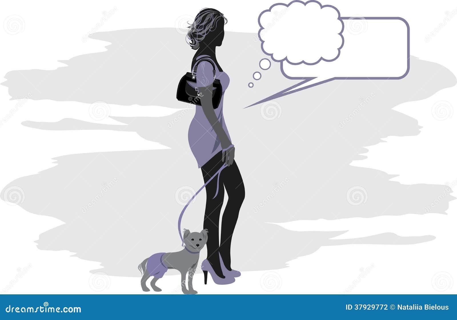 Силуэт элегантной женщины с маленькой собакой