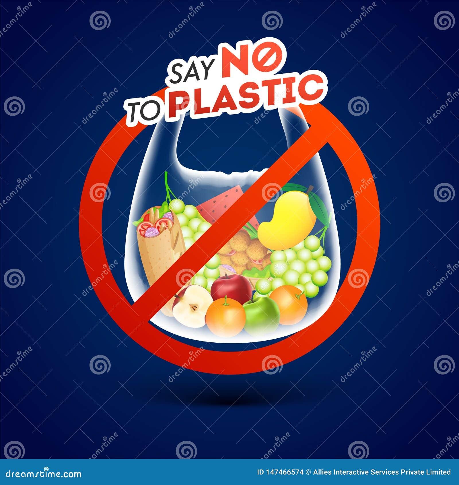 Скажите нет к пластиковому знаку запрета политена на голубой предпосылке