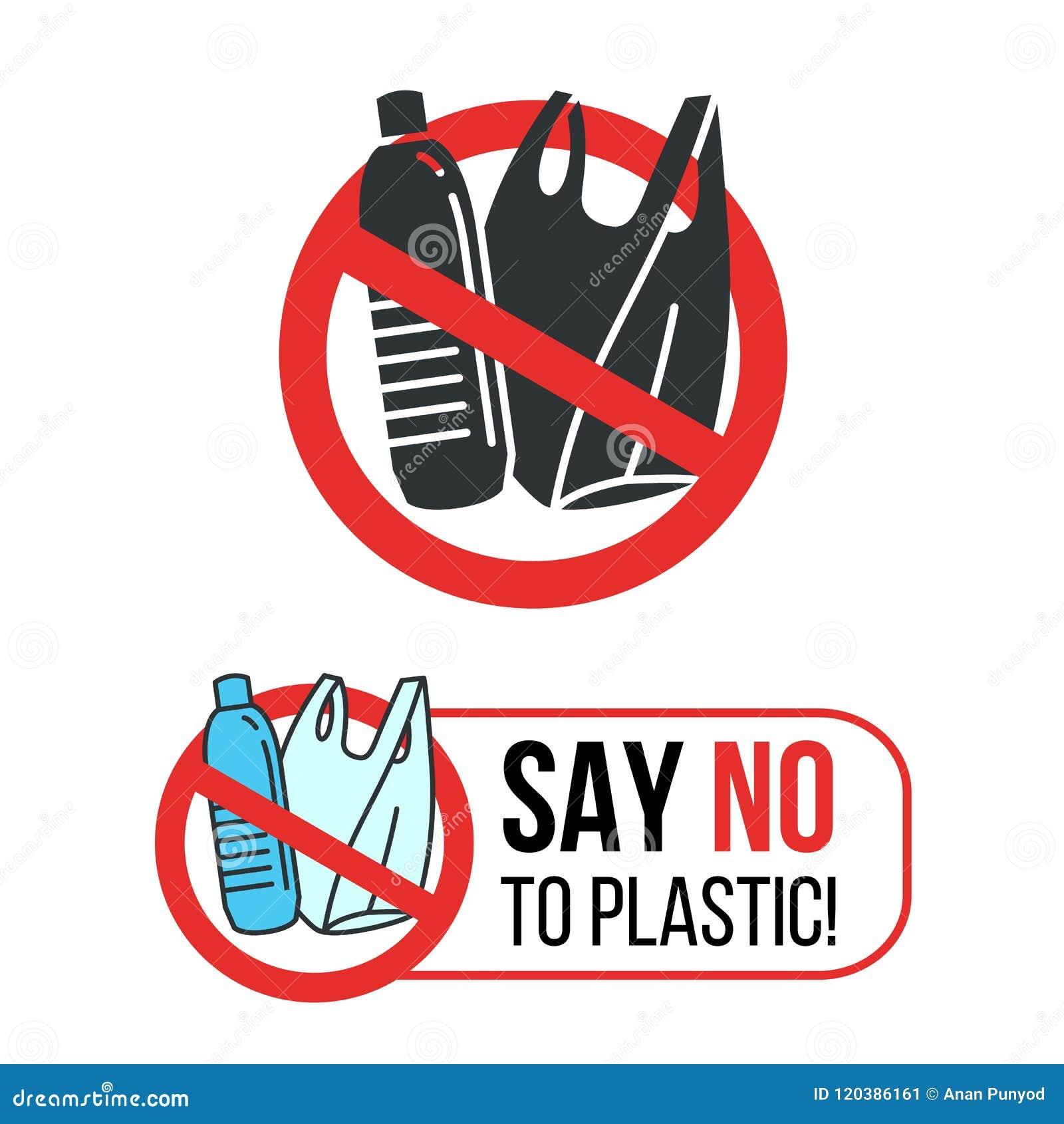 Скажите нет к пластичному знаку с пластичными бутылкой с водой и полиэтиленовым пакетом в красном дизайне вектора круга стопа
