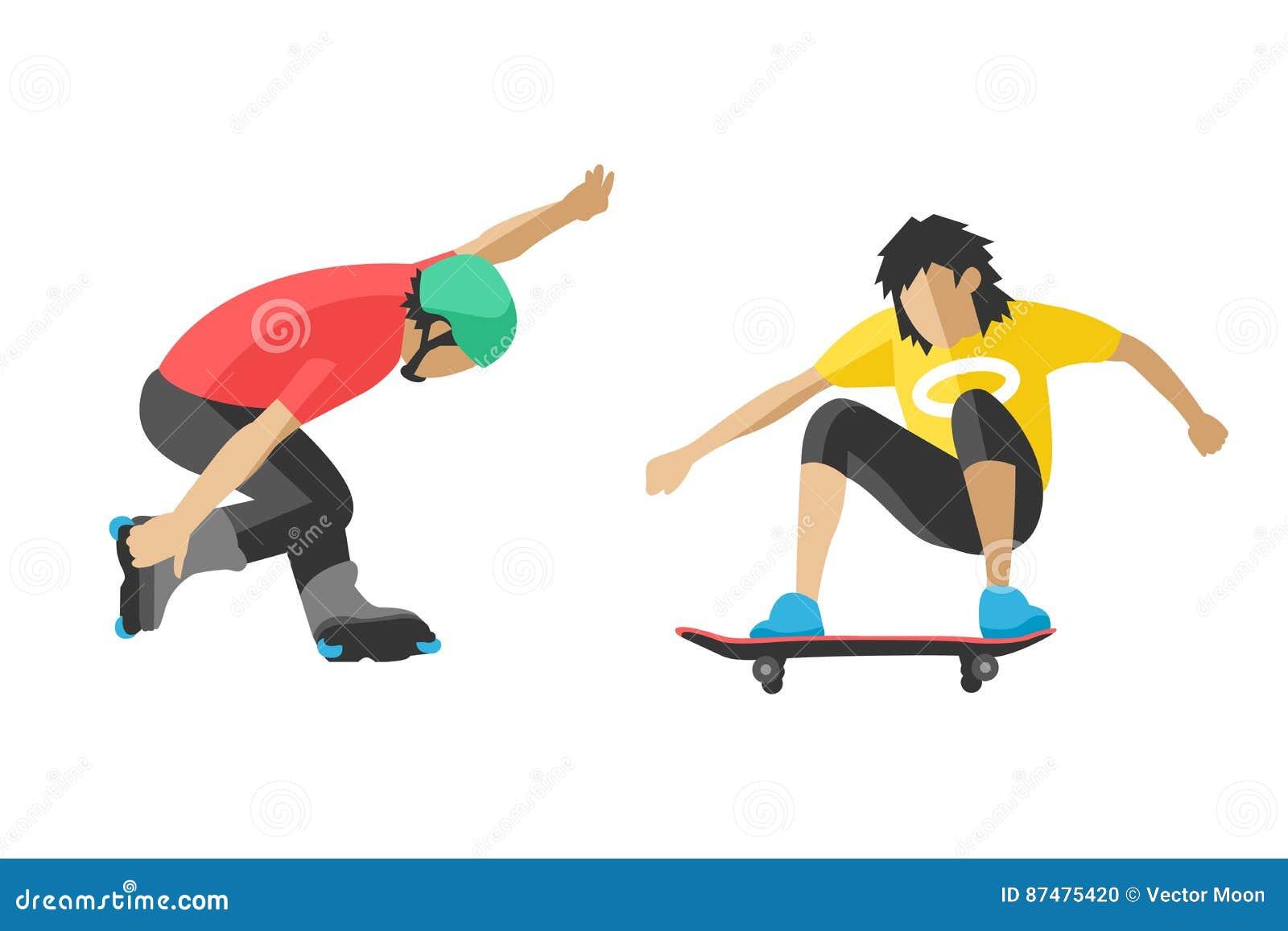 Скейтбордист скачет делающ фокус в характера потехи спорта парка конька скейтборде иллюстрации вектора весьма городского плоском