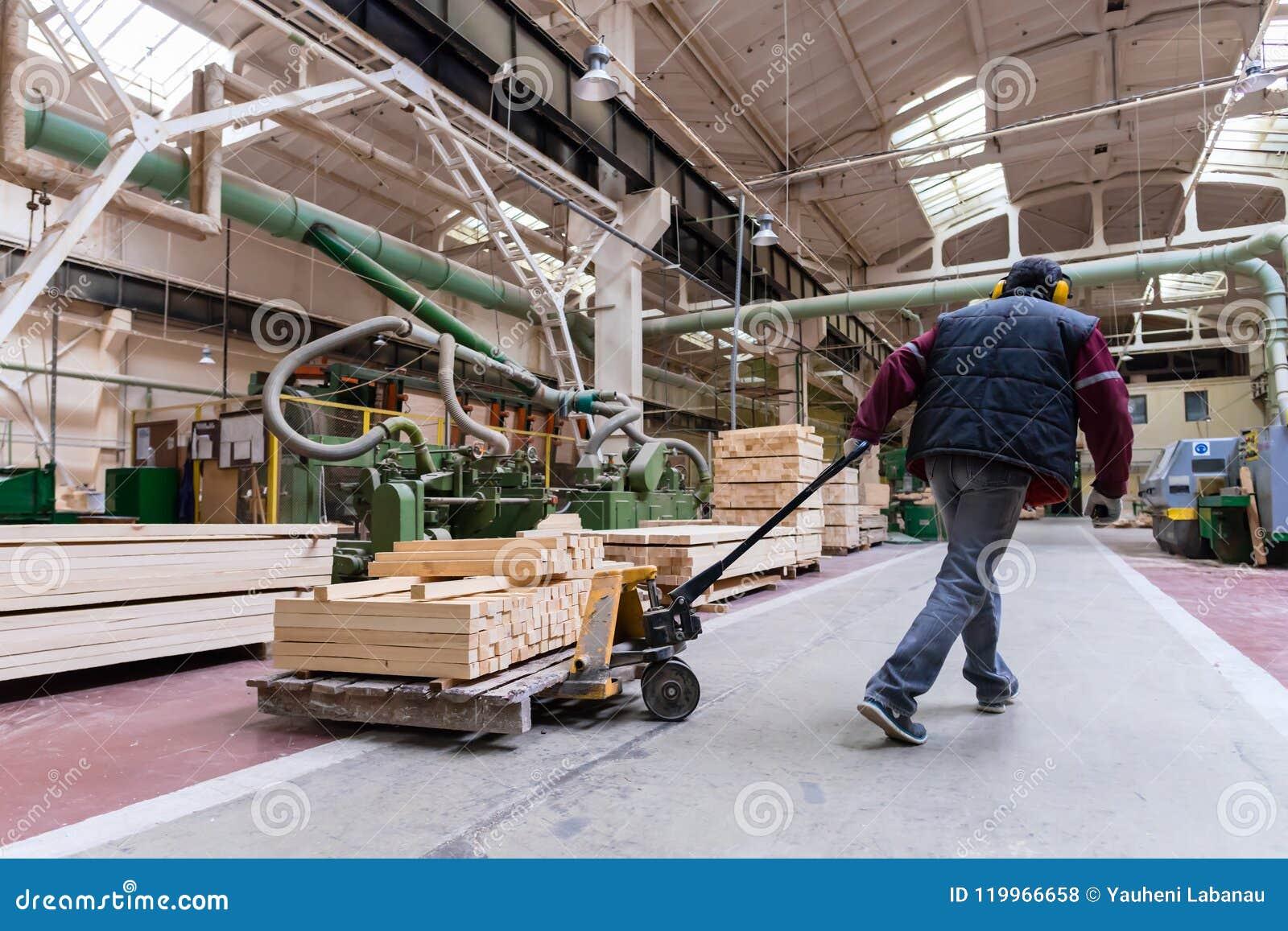 Складируйте работник двигая деревянные доски, фабрику обработки древесины