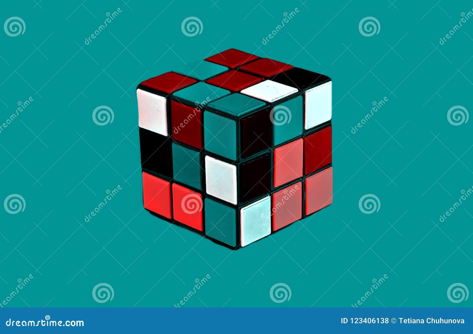 Складывая пестротканый изолированный куб Стиль: абстракция, illustr