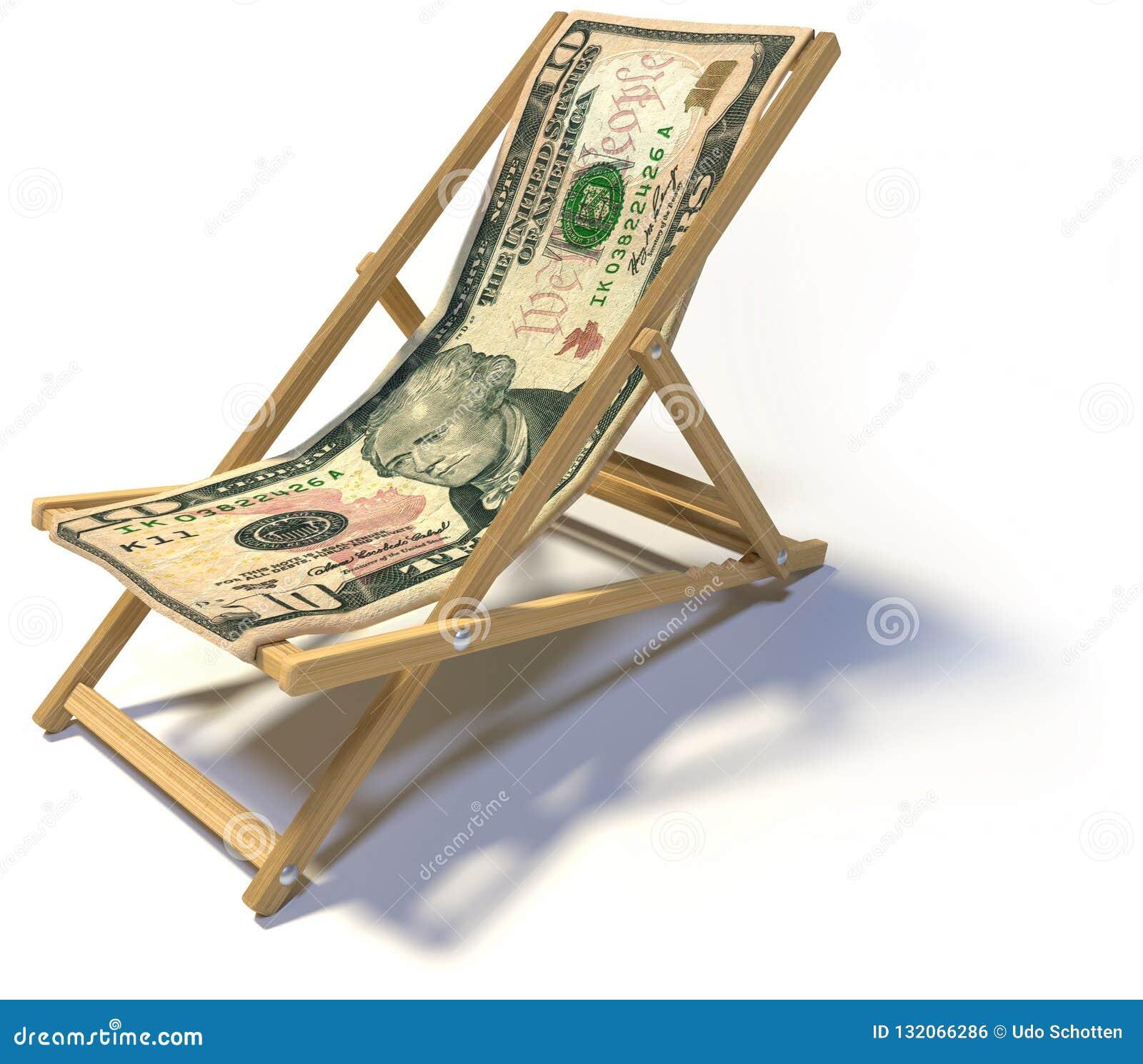 Складывая deckchair с примечанием 10 долларов