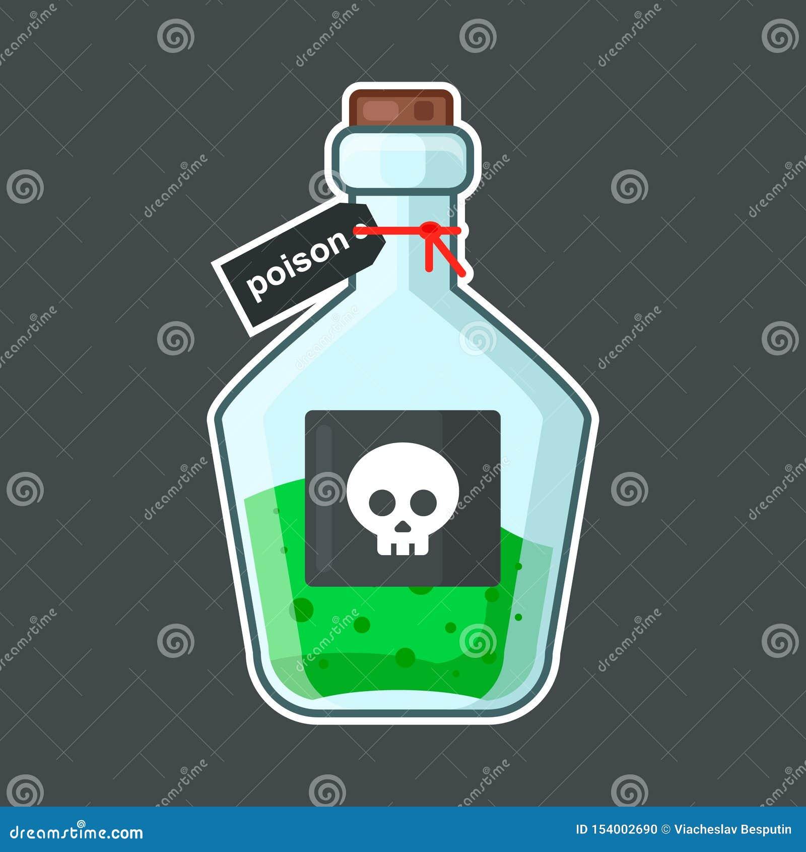 Склянка с отравой на черной предпосылке череп