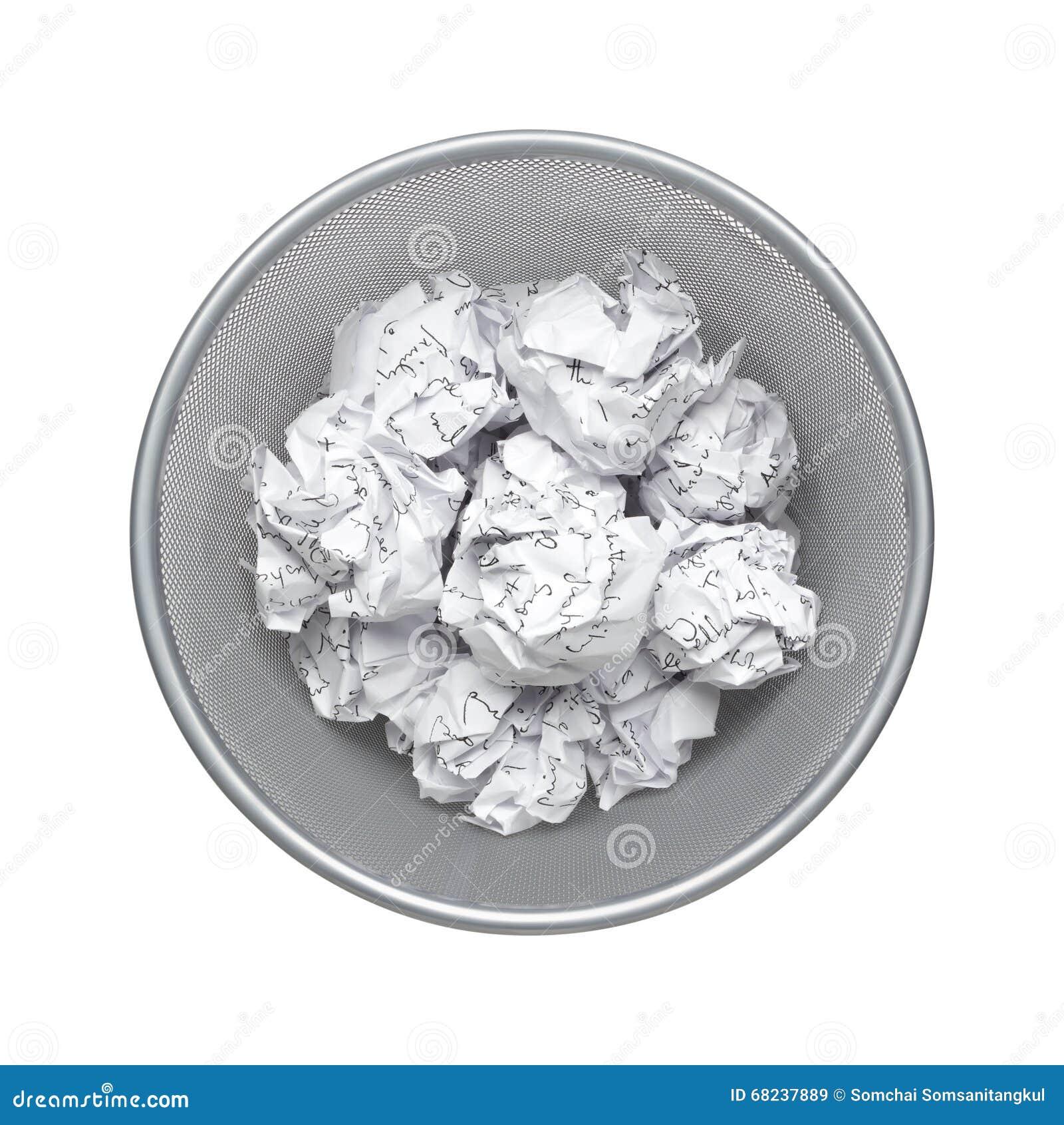 Скомканная бумага, макулатура, отброс, старье может рециркулировать в мусорном ведре офиса, rubbish, портит