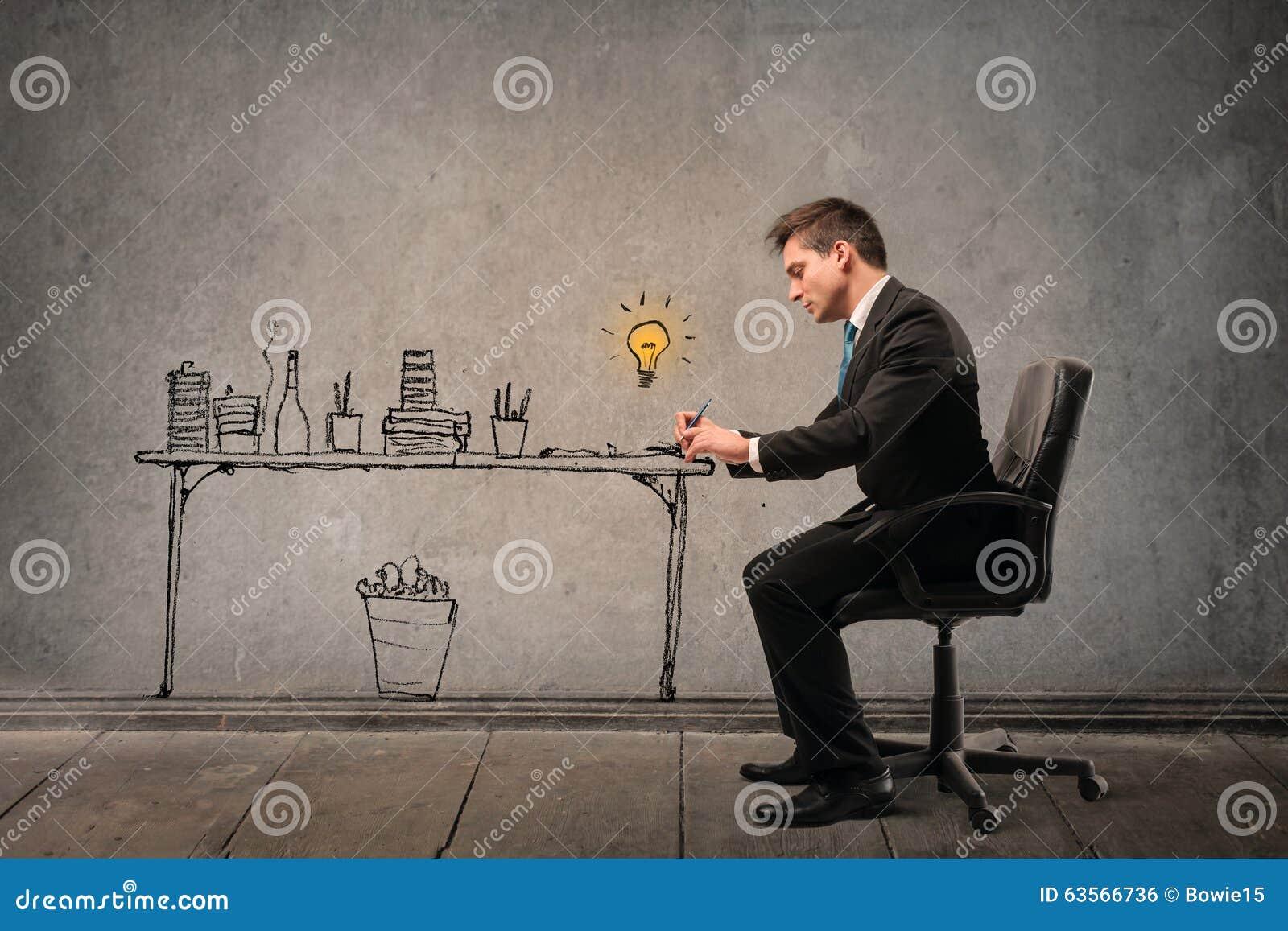 сконцентрированный бизнесмен